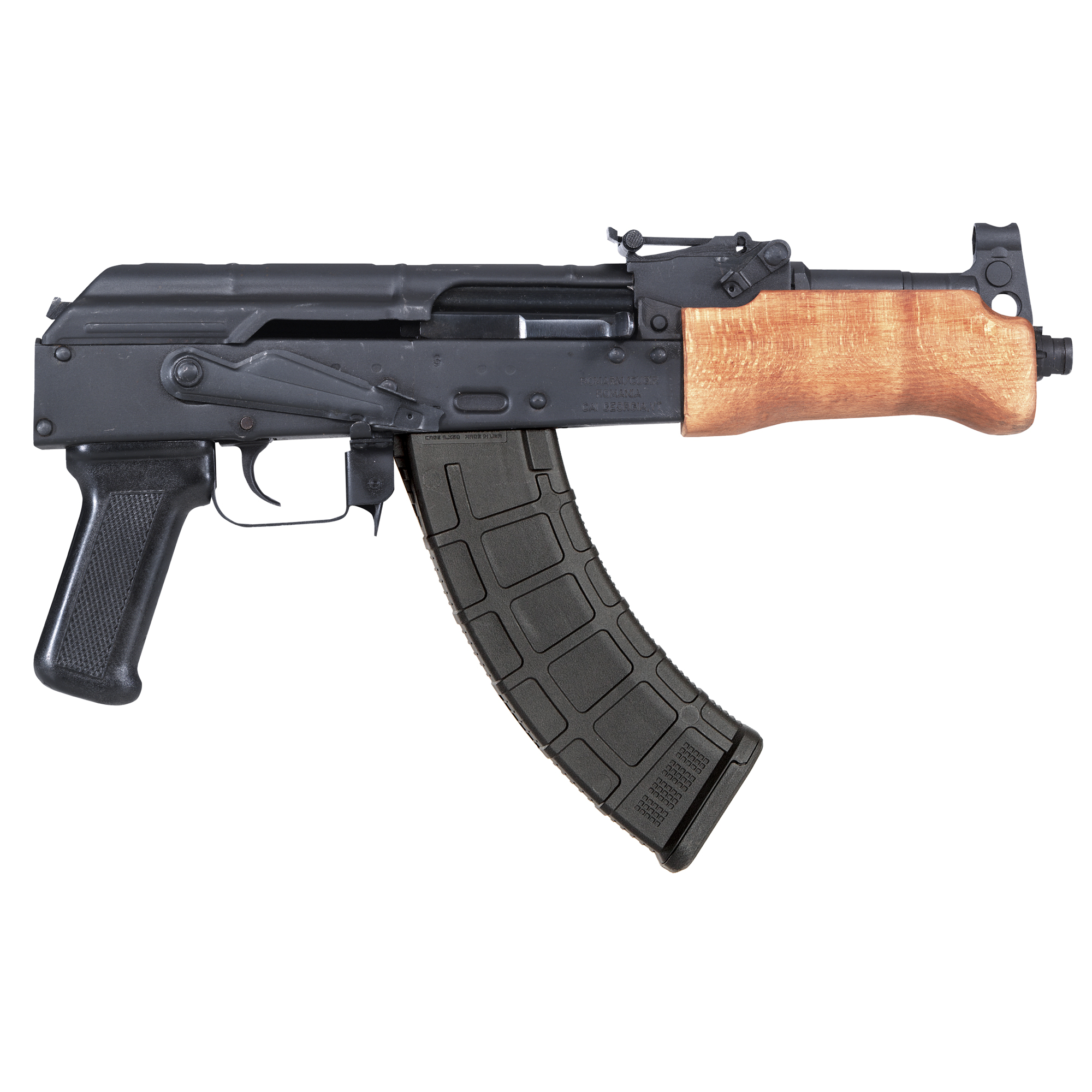 """The Century Arms Mini Draco features a stamped receiver"""" 14x1 left hand threaded barrel and it accepts all standard AK magazines."""