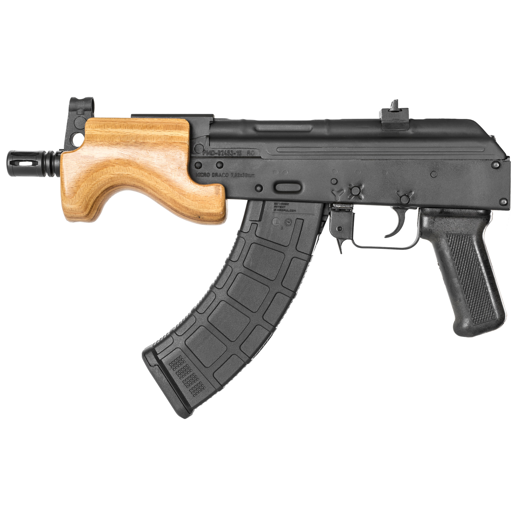 """The Century Arms Micro Draco features a stamped receiver"""" 14x1 left hand threaded barrel and it accepts all standard AK magazines."""