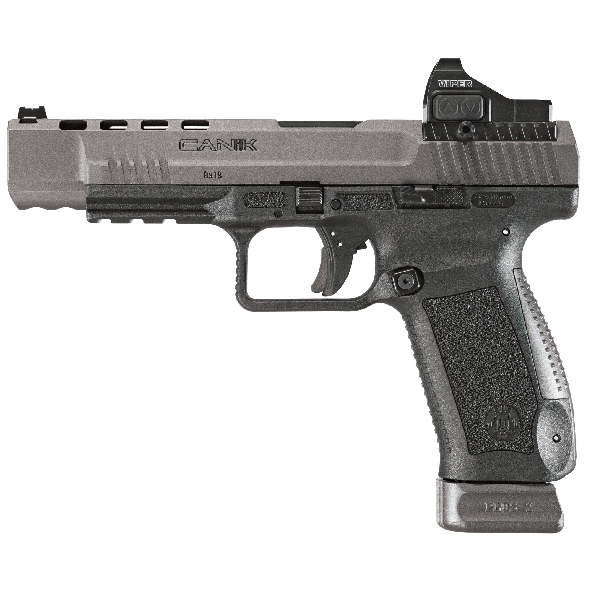 """The TP9SFx comes with Warren Tactical sights with red and green fiber optic front sight and four red dot interface plates to mount optics. Other features include: Extended ergonomic slide release"""" reversible ambidextrous cocking lever"""" forward slide serrations and improved single action trigger."""