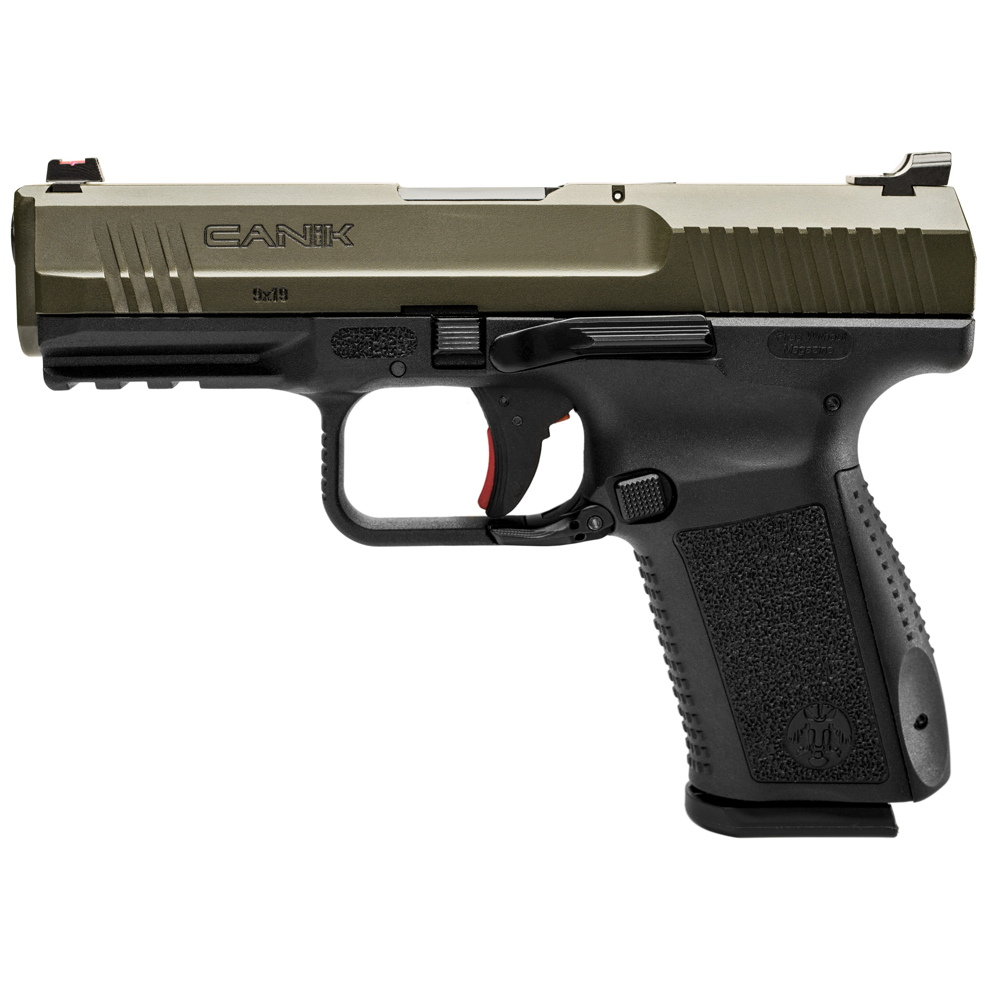 """The TP9SF Elite comes with Warren Tactical sights with red and green fiber optic front sight"""" ambidextrous slide release"""" reversible magazine catch"""" front and rear slide serrations and improved single action trigger."""