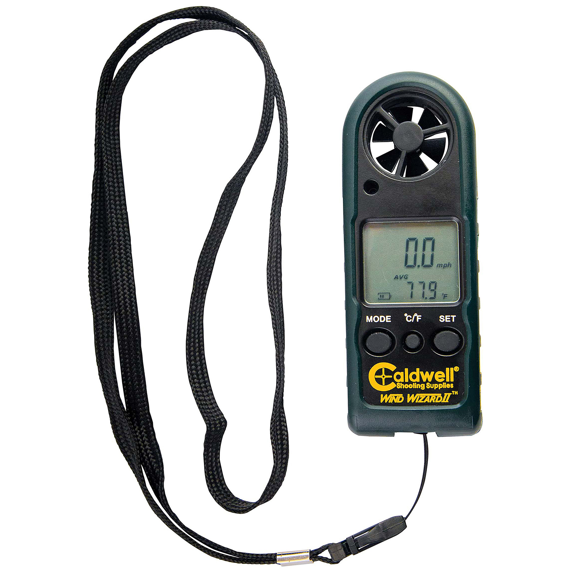 """The Caldwell(R) Wind Wizard II has been redesigned to be the best value wind meter on the market and an ideal tool for indicating wind speed. Knowing wind speed gives the shooter the ability to judge shot placement in varying wind conditions. Both compact and portable"""" this wind meter reads wind and temperature in various units of measure. The non-slip rubber sleeve protects the unit and ensures it's easy to grip even with gloved hands. Operates on one CR2032 battery (included)."""