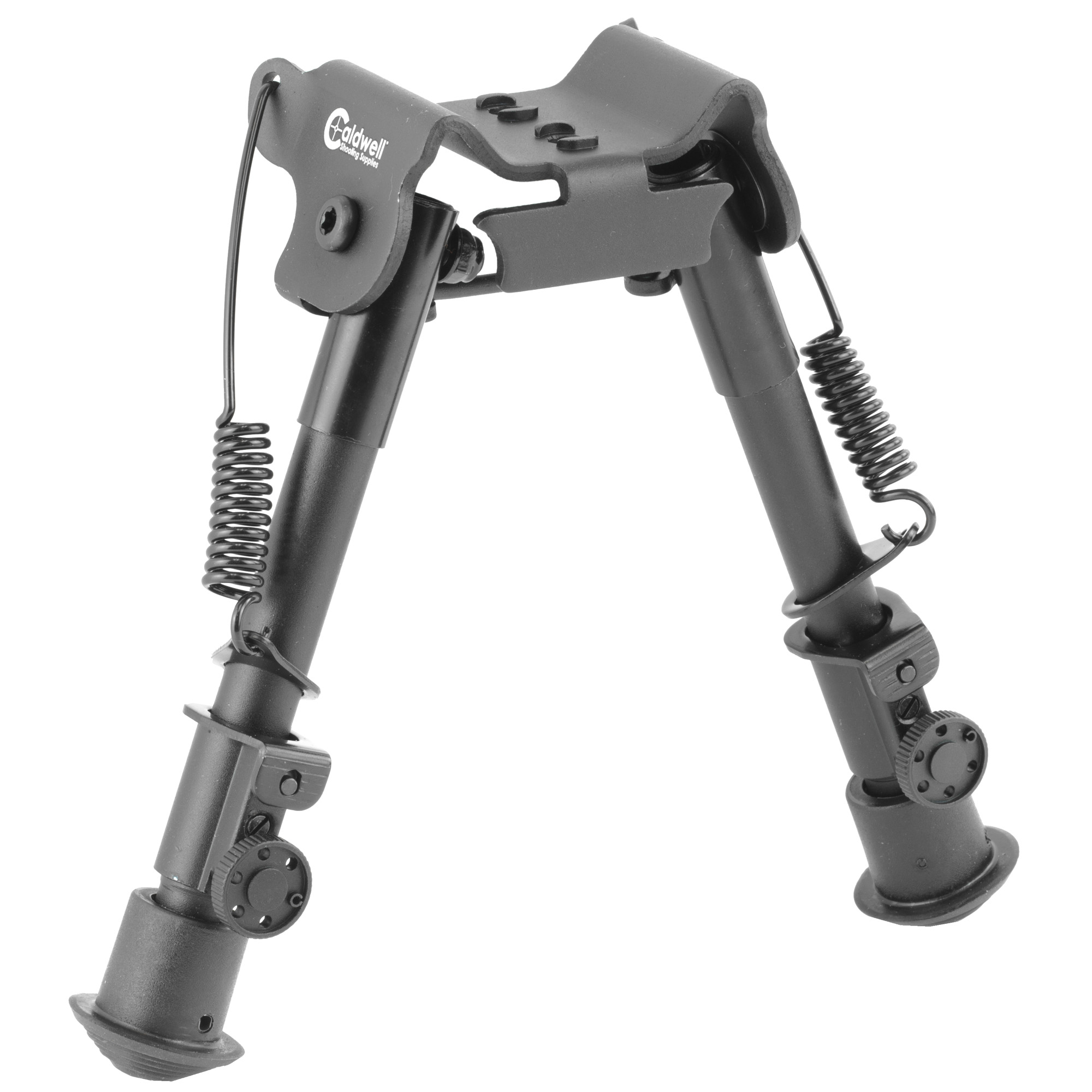 """Caldwell's XLA 6""""-9"""" M-Lok/KeyMod compatible bipod deploys quickly with legs that spring out to the shooting position giving you an instantaneous stable shooting platform. It attaches to M-Lok or KeyMod handguards with one of the two included mounts. Strong and lightweight"""" it's collapsible for easy transport."""