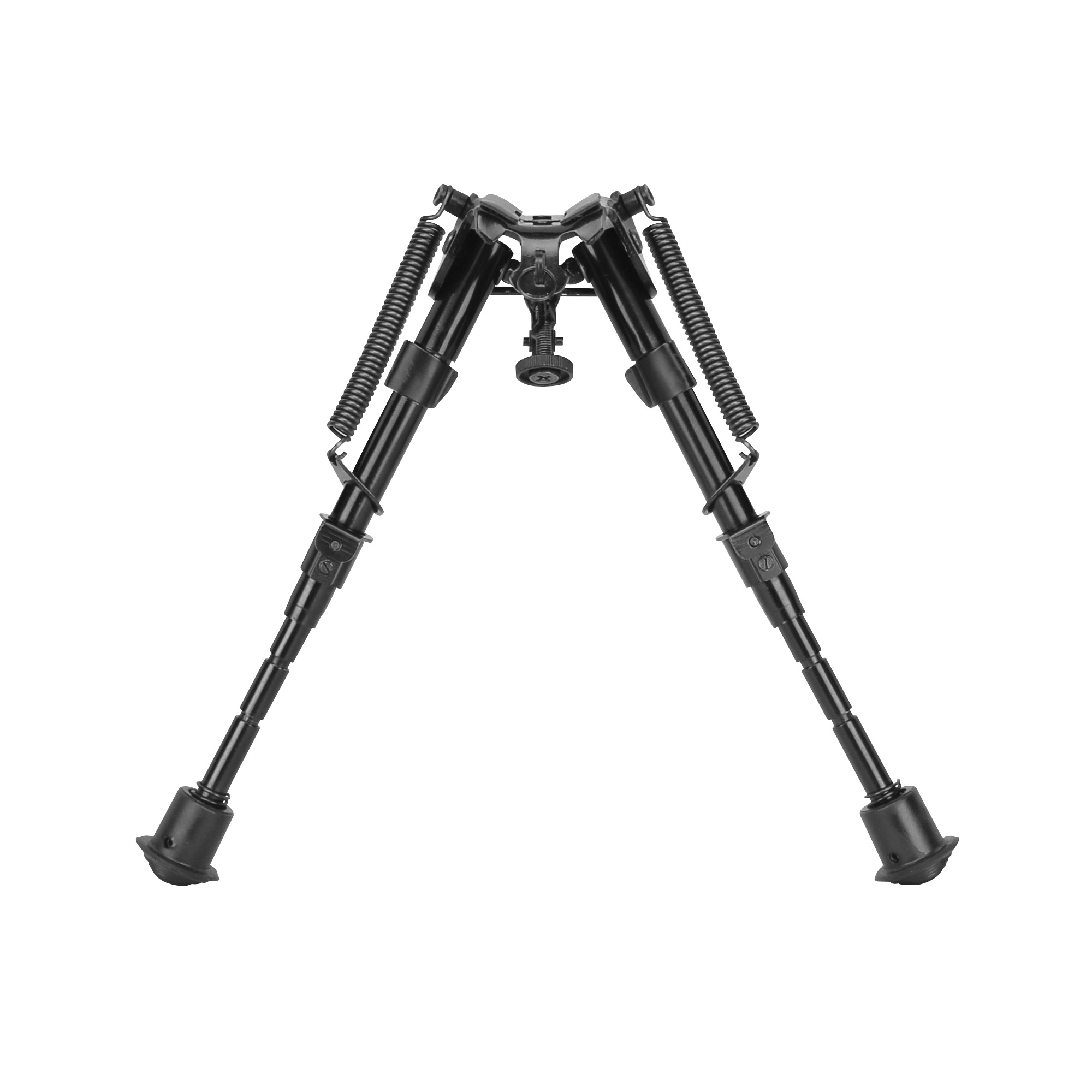"""Caldwell's XLA Fixed Adjustable Bipod 6""""-9"""" provides a stable shooting support that conveniently attaches to almost any firearm with a sling swivel stud. The lightweight aluminum design adds minimal weight and deploys quickly"""" with legs that instantly spring out to the shooting position with the touch of a button. The legs are notched for easy indexing to a specific height. There is a connection point for sling attachment and multi section legs that collapses forward allowing for convenient carry of the firearm. Soft rubber feet provide enhanced stability"""" while the padded bipod base protects the firearms forend."""