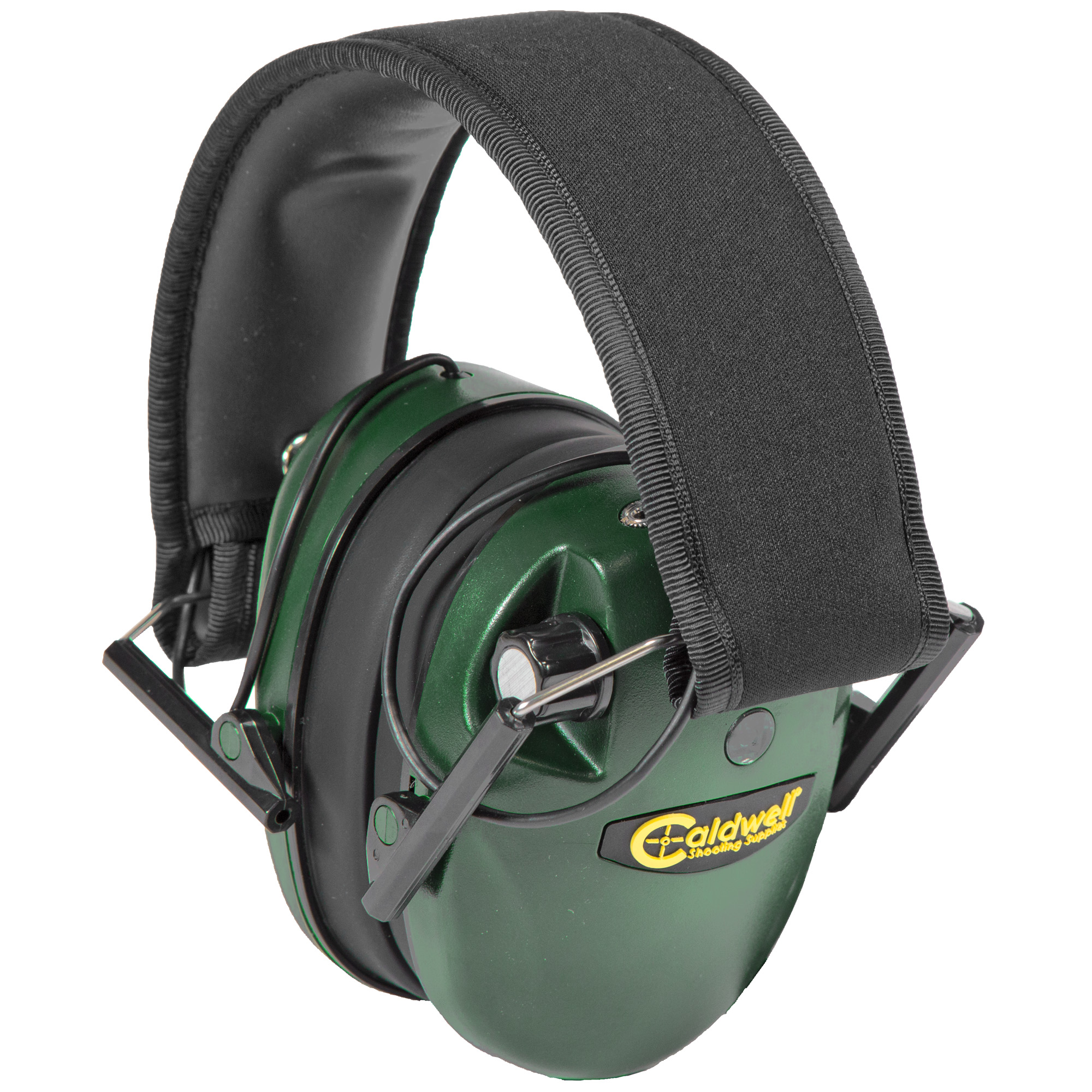 """The Low-Profile E-Max hearing protection combines great circuitry with a low-profile ear cup that's ideal for shotgun shooters and action shooters. The E-Max(R) amplifies sounds below 85 decibels"""" which amplifies normal communication"""" range commands"""" and environmental sounds. Above 85 decibels"""" the microphones shut off for a split second to protect the shooter's hearing. Two microphones - one in each cup - give the user true stereo sound and allow the user to identify the directional source of a sound. Includes an integrated audio input jack allowing music to be played. Runs on 2 AAA batteries (not included)."""