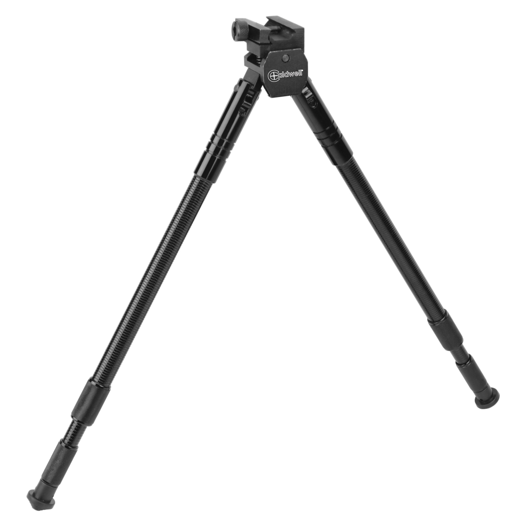 """Caldwell's AR-15 Sitting Bipod 14.5""""-30.5"""" Picatinny Mount is easily attachable and detachable to any Picatinny rail. It features 18 degrees of available cant (tilt) in either direction and rotates left or right 20 degrees"""" without repositioning bipod legs."""