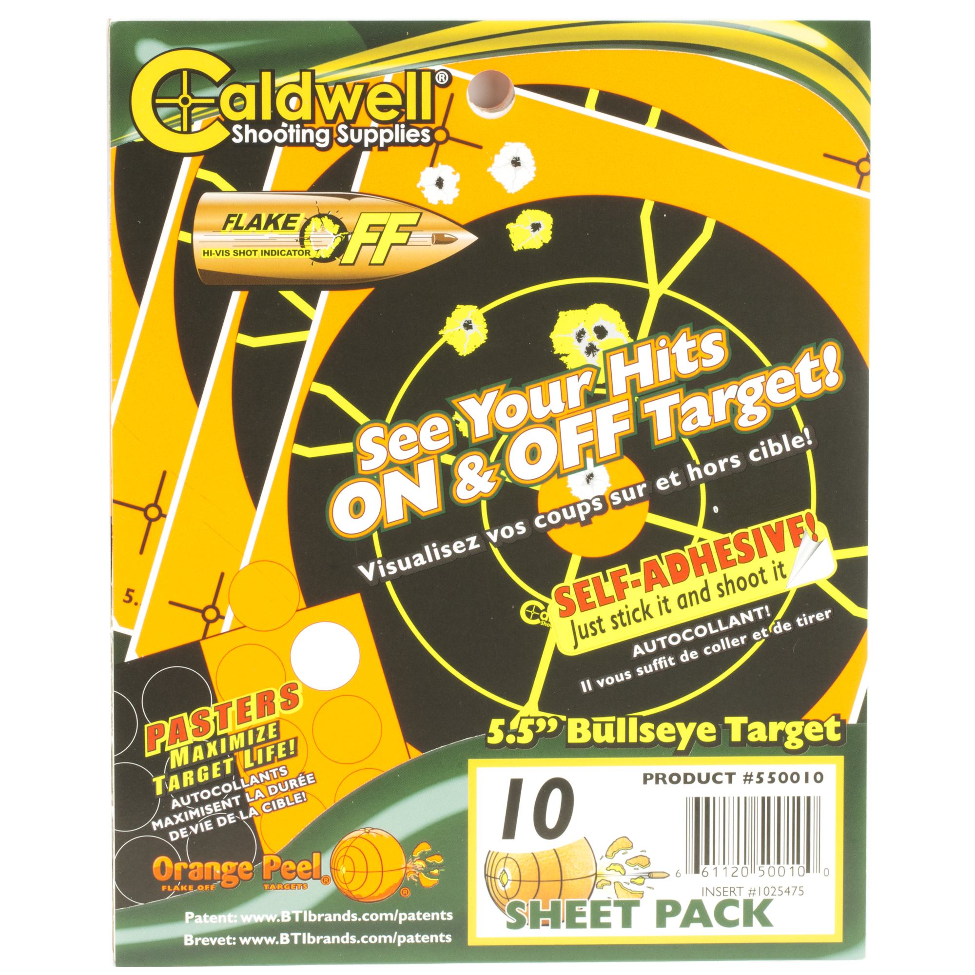 """Get on target with Orange Peel(R) Targets by Caldwell(R)! Orange Peels let you see hits ON and OFF the target with dual-color flake-off technology that makes your hits look like colorful explosions. If your shot happens to miss the bullseye"""" you will know exactly where your bullet strayed. instantly. The orange background and black target make target acquisition through the scope easy"""" even at long distances."""