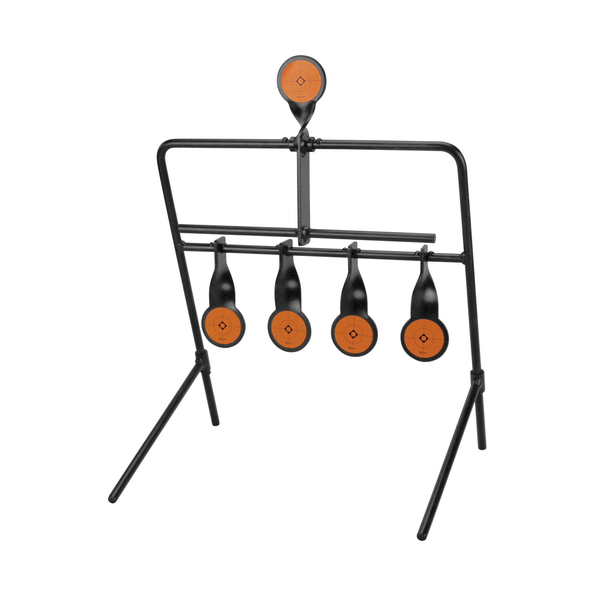 """Caldwell(R) Resetting Targets are easily portable and create an interactive shooting experience that makes plinking and target practice fun. Made of heavy duty steel"""" these targets are built to last. The bottom row of targets swing up and out of the way when hit. Shooting the top target will reset the bottom row."""