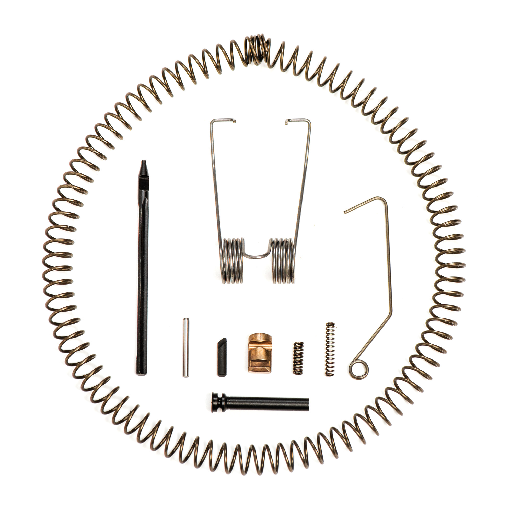 Kit Includes:(1) Recoil Spring(1) Extractor Spring(1) Hammer Spring(1) Disconnector Spring(1) Retaining Spring/Wire(1) Firing Pin(1) Firing Pin Retaining Pin(1) Extractor(1) Extractor Retaining Pin(1) Hammer/Trigger Axis Pin
