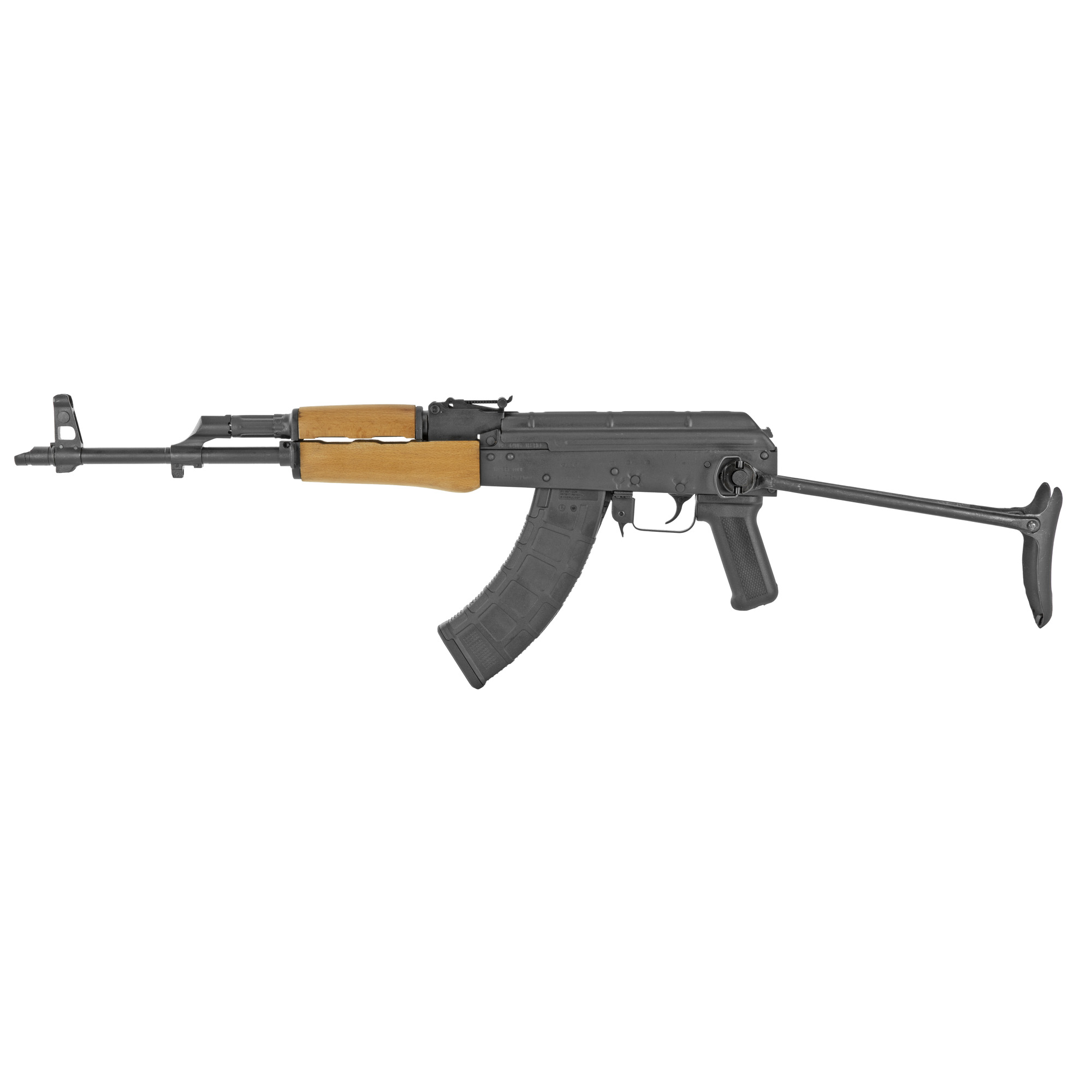 """The WASR-10 Underfolder is one of the most sought-after Romanian import AK-pattern rifles. With the stock folded the rifle becomes very compact and perfect for hiking"""" home defense or a truck gun. Open the stock and the rifle provides a stable platform for more accurate target and sport shooting."""