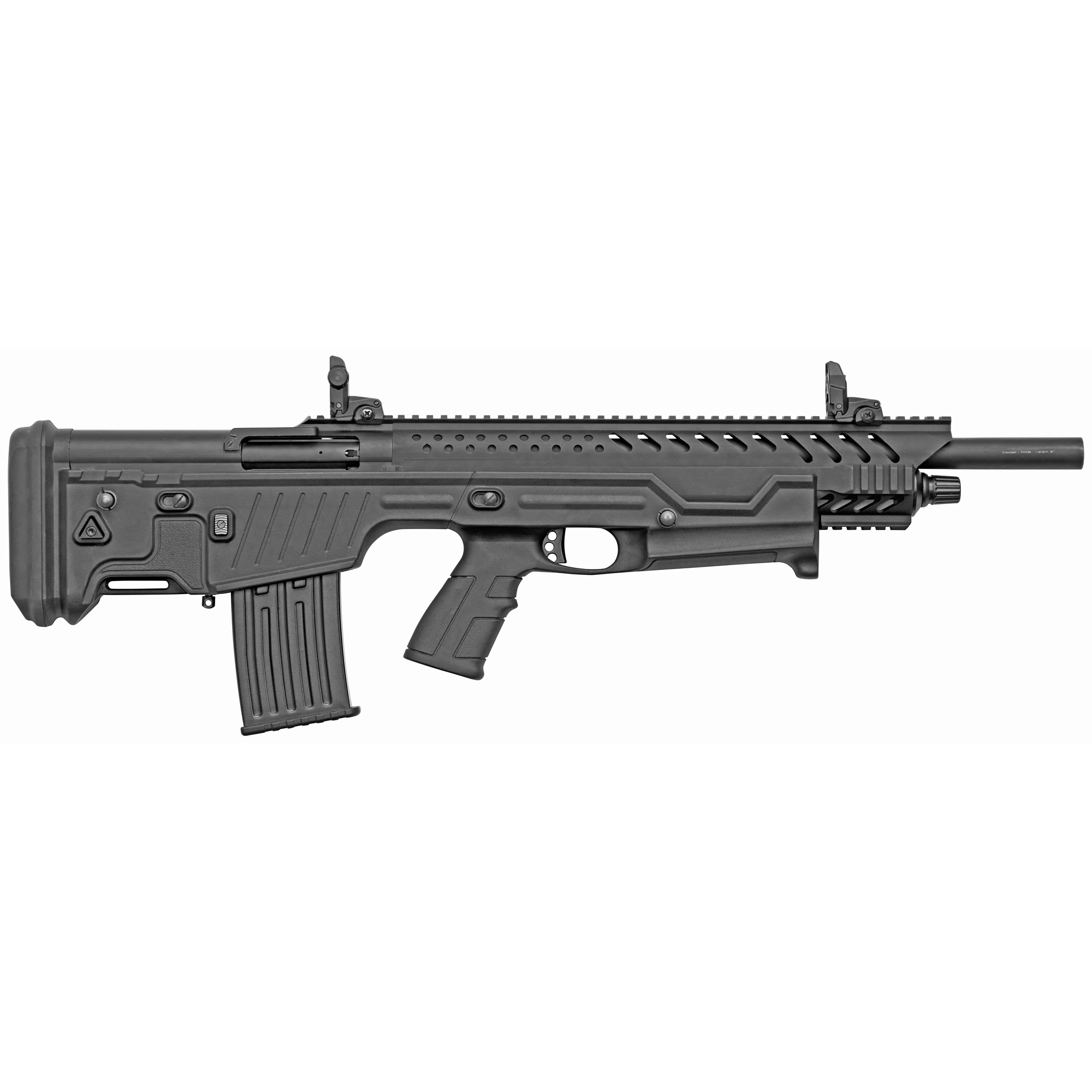 "The N4S is a semi-auto bullpup shotgun that features adjustable flip up sights"" a synthetic stock"" 3"" chamber"" manual safety and a Modified choke."