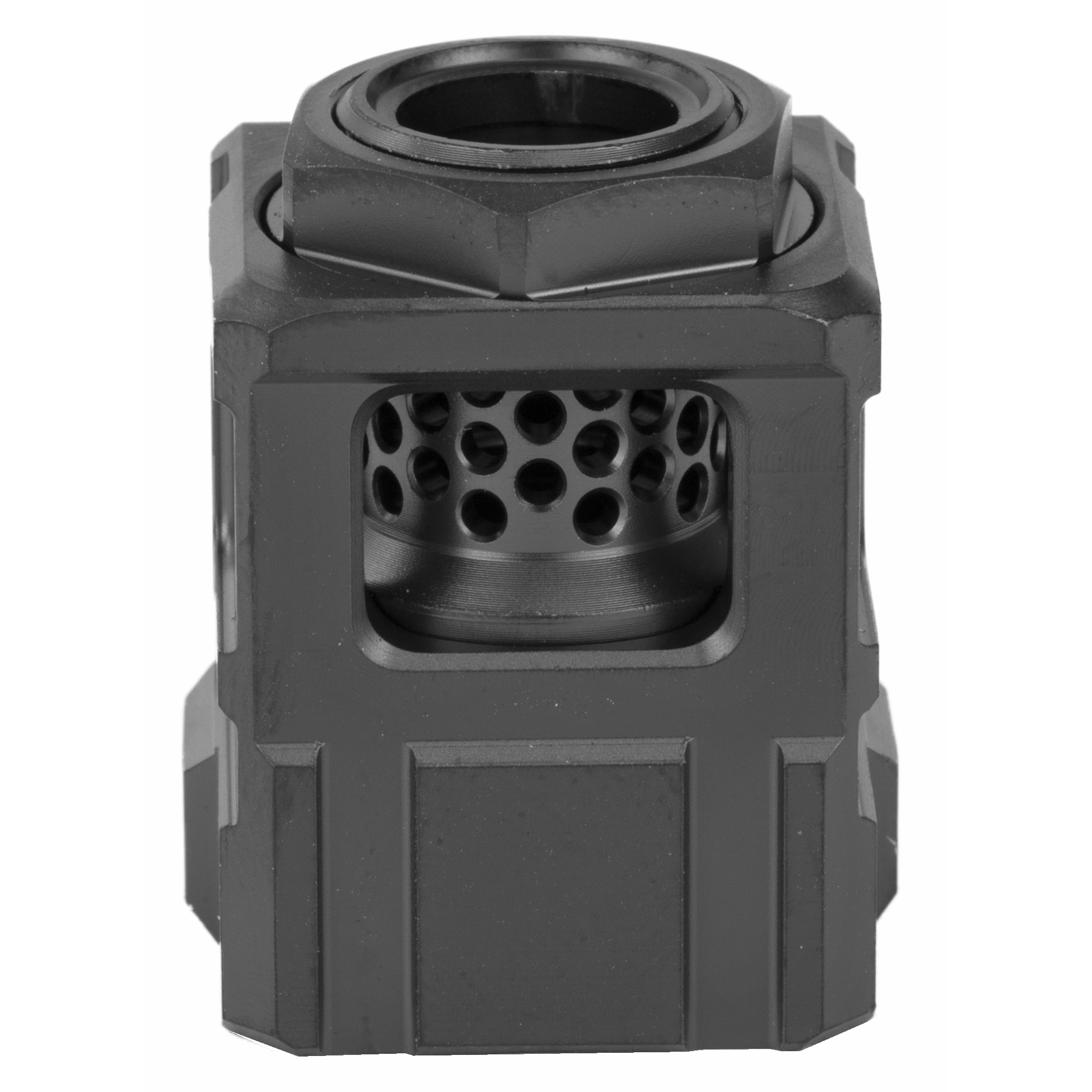 The Official Qube(TM) compensator is the first pistol compensator that doesn't require set screws. The compensator mount threads onto the barrel first and gets torqued down with a wrench. The Official Qube(TM) compensator body slides over the top of the compensator mount and shoulders against a taper. The lock nut threads onto the compensator mount and pinches the Official Qube(TM) compensator body against a second taper and locks it down which prevents rotation.
