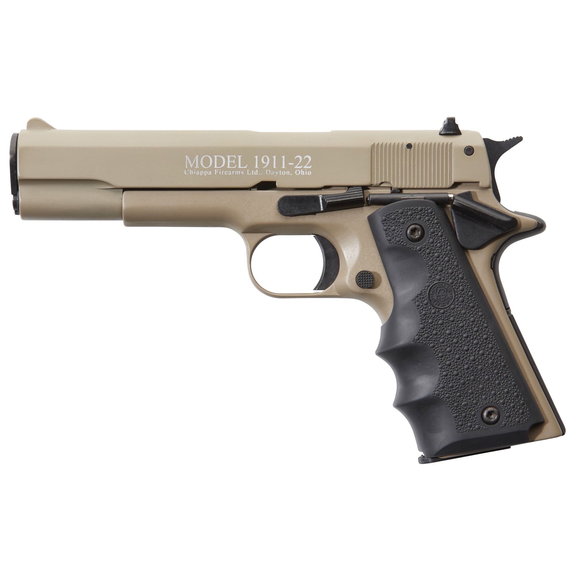 "The 1911 is one of America's favorite pistols. With Chiappa Firearms' 1911-22"" this classic design can come with all of the features"" comfort and appeal but chambered in the easy shooting inexpensive .22lr. These handguns are the same size and have the same controls as a genuine 1911. This makes the Chiappa 1911-22 perfect for serious practicing"" target shooting or plinking."