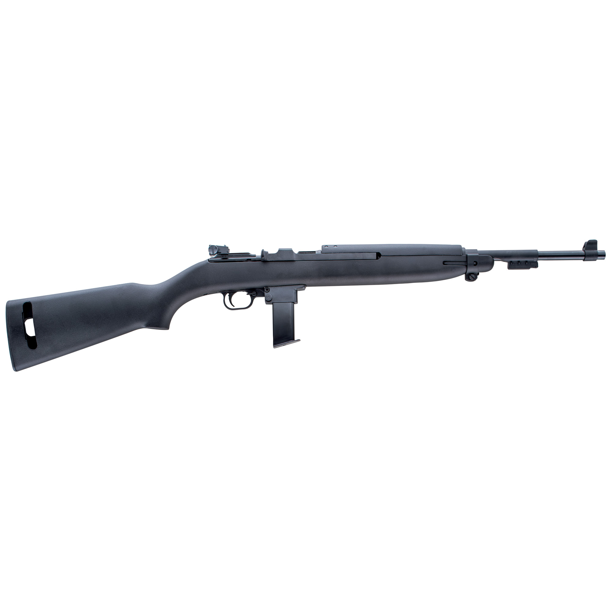 "Modeled after one of America's great military arms"" the USGI M1 Carbine"" the M1-9 is nostalgic"" fun and practical. This handy"" easy to shoot rifle has the same overall dimensions"" trigger group design and sights as the original"" but is chambered in the affordable and readily available 9mm Luger."