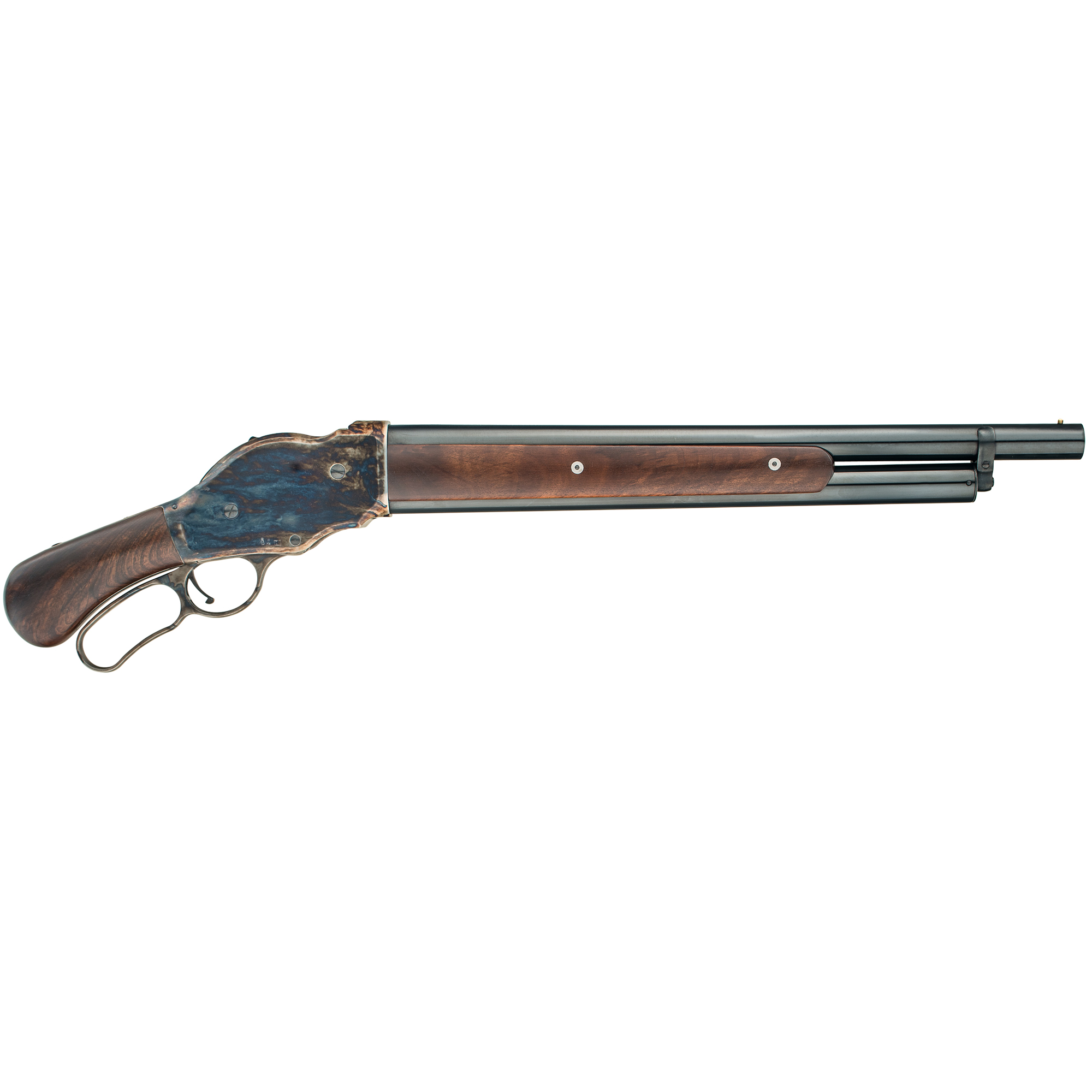 "Designed by John M. Browning for the Winchester Repeating Arms Company"" the 1887 lever action shotgun is considered to be the first successful repeating shotgun. The Chiappa Firearms' 1887 is a faithful reproduction of this classic firearm. The 1887 utilizes the design of the original solid lever that includes an innovative internal safety. Featuring a European walnut stock and forearm and color case finished receiver"" the 1887 is as beautiful as it is functional."