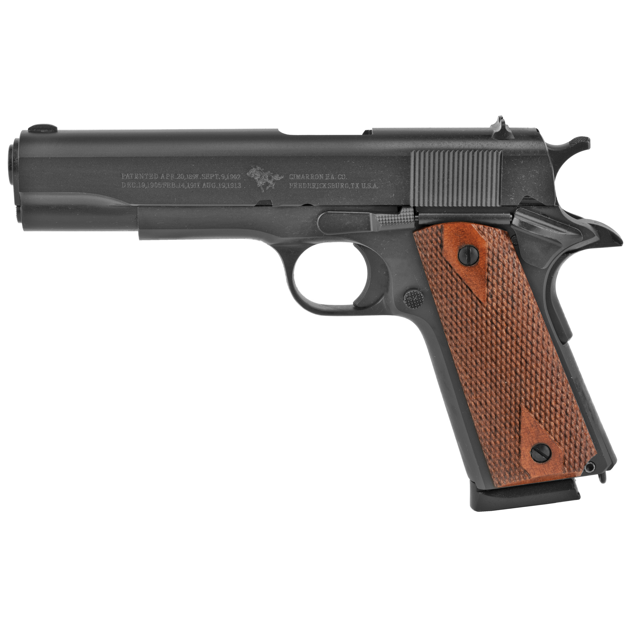 "The 1911 is a model favored by gun enthusiasts of many varieties. It was the standard issue side arm for the U.S. Armed Forces from 1911 to 1986. This firearm is the next logical step for Cimarron; as this was the next generation of firearm used en masse in World War I. The Cimarron 1911 has the correct historical markings"" the original 1911 frame with a Type 1 smooth mainspring housing. It has a lifetime warranty and is Colt parts compliant."