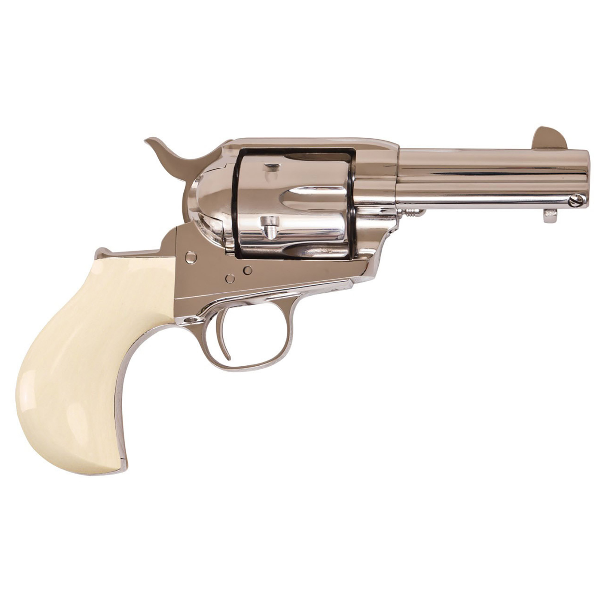 "Cimarron Firearms' Doc Holliday combo is just your game. Each 3 1/2-inch"" nickel-plated revolver has simulated ""Ultra Ivory(TM)"" birds head grips and ""Doc Holliday"" engraved into the back strap"" along with the special number of the gun. Chambered for the .45 Colt cartridge"" this handy six-gun makes a dandy ""fifth ace."""