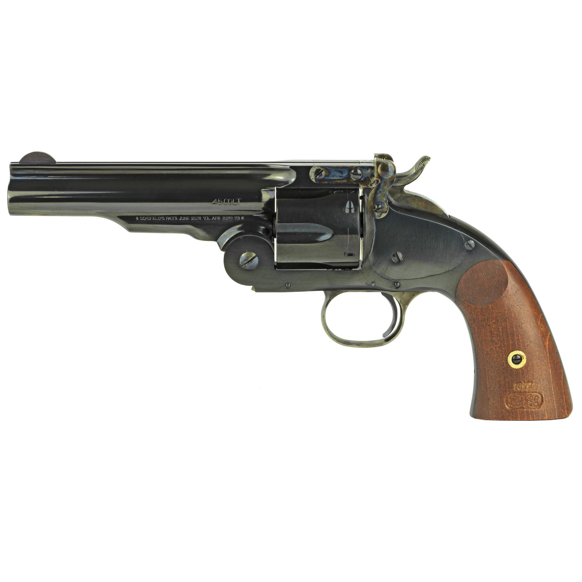 "Cimarron offers the Model No. 3 Schofield"" 2nd Model"" copied directly from an original in their vast collection of antique firearms. (.45 Colt chambered Cimarron Schofields also handle the .45 Schofield cartridge)."