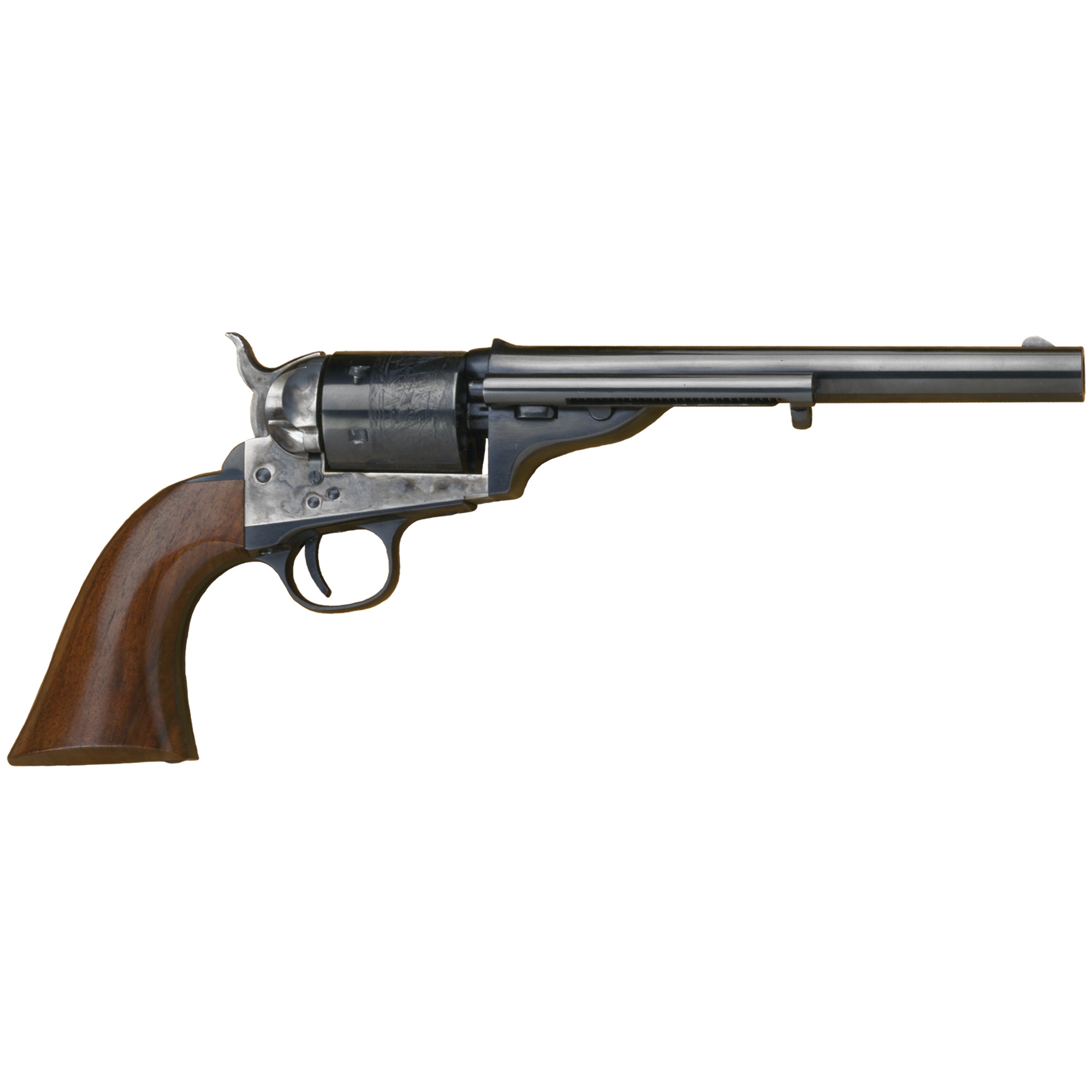 "Cimarron's 1872 Open Top Army"" like the original revolver in their collection it was reproduced from"" combines the sleek"" graceful lines of the caplock sixguns of the 1860s with the convenience of a modern metallic cartridge revolver. Cimarron's Open Top Army is a spitting image of the 1870s originals."