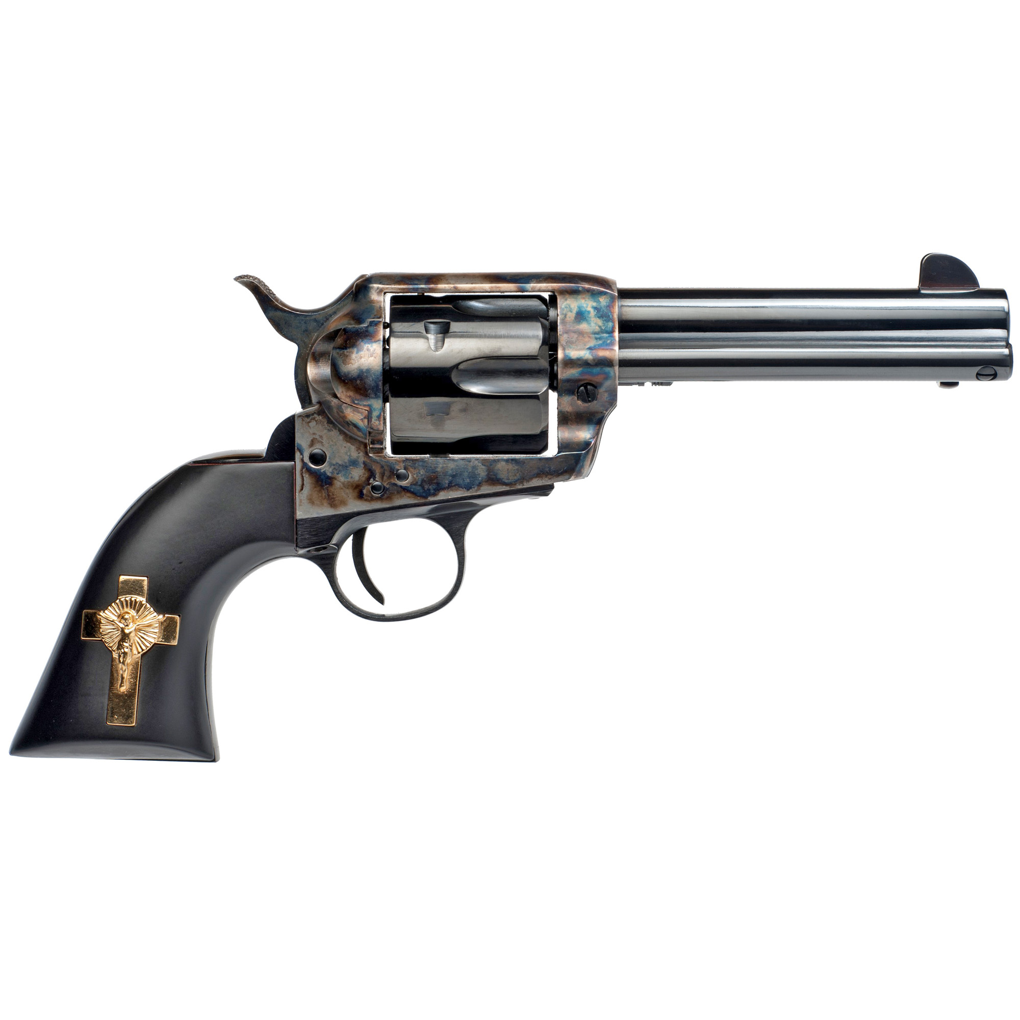 "This unique Western replica introduced by Cimarron Fire Arms was made famous in the 2007 remake of the classic 1957 horse opera 3:10 To Yuma. This Italian-import peacemaker-style replica is an exact duplicate of the iconic sixgun packed by Russell Crowe as bad man Ben Wade--complete with the gold plated"" sterling silver crucifix"" inlaid on the black grip's right side."