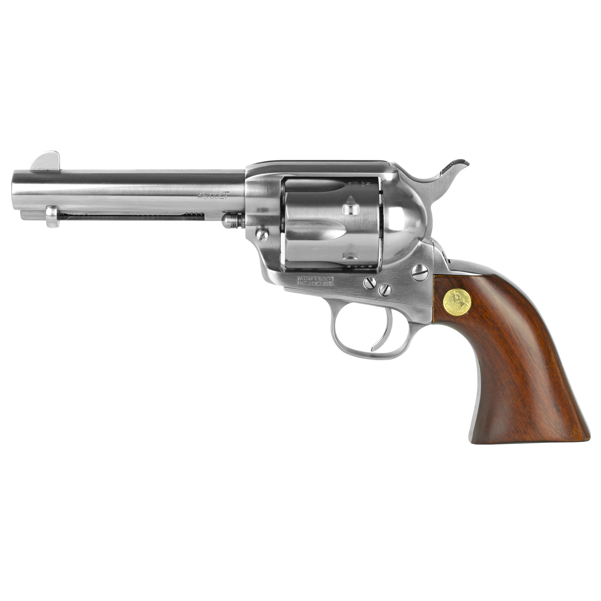 "The 1873 peacemaker-style revolver"" originally designed for the U.S. Cavalry"" quickly became the archetypical sixgun of the frontier. Made in a number of powerful chamberings in different barrel lengths"" besides the ""peacemaker"""" it was also known by other monikers like ""hogleg"""" smokewagon"""" and ""equalizer."" Considered as the most authentic and highest quality reproduction of the 1873 Colt"" Cimarron's replica was reproduced in every detail from an original 1873 single action in their antique collection"" and was not replicated by working simply from drawings"" as with previous reproductions."