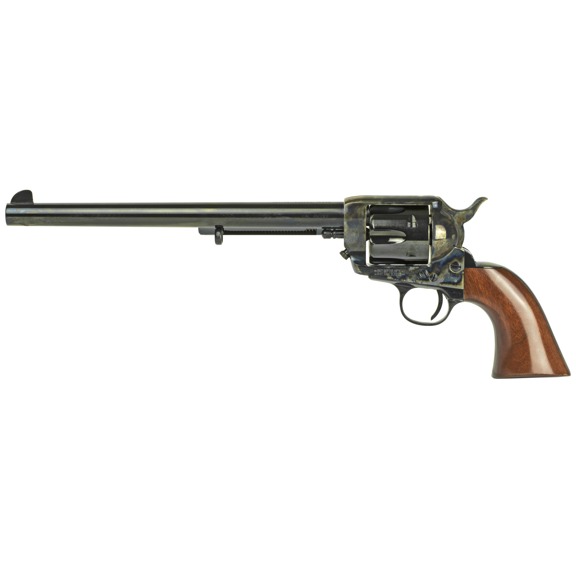 "Made famous in the 1993 Western classic film Tombstone"" this 10-inch barreled 1873 single-action revolver emulates the legendary sixgun attributed to lawman/gunman Wyatt Earp. Patterned exactly after the long-barreled peacemaker used in this classic horse opera"" Cimarron's unique revolver features the solid sterling silver ""Wyatt Earp"" Peacekeeper"" presentation plaque neatly inlaid into the sixgun's one-piece"" walnut stock."