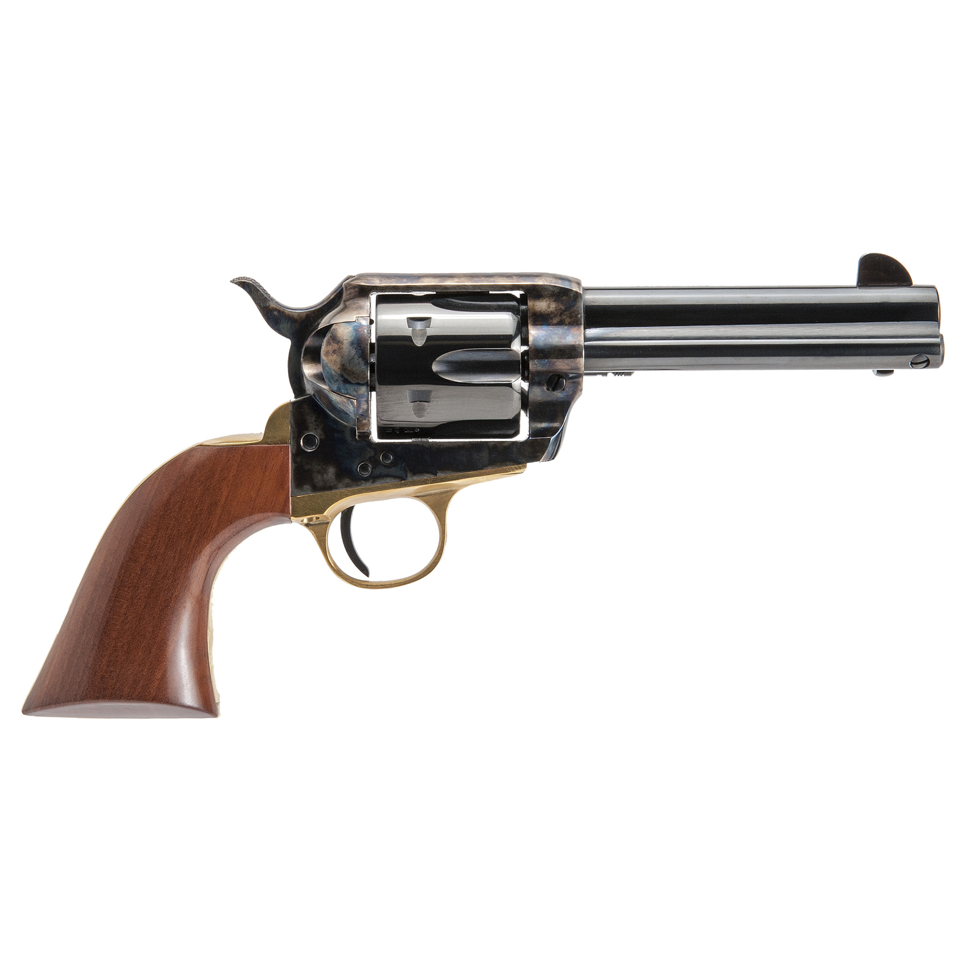"The ""Pistolero"" Model .45 Long Colt features a 4 3/4"" blued barrel"" color case hardened frame and smooth walnut grips."