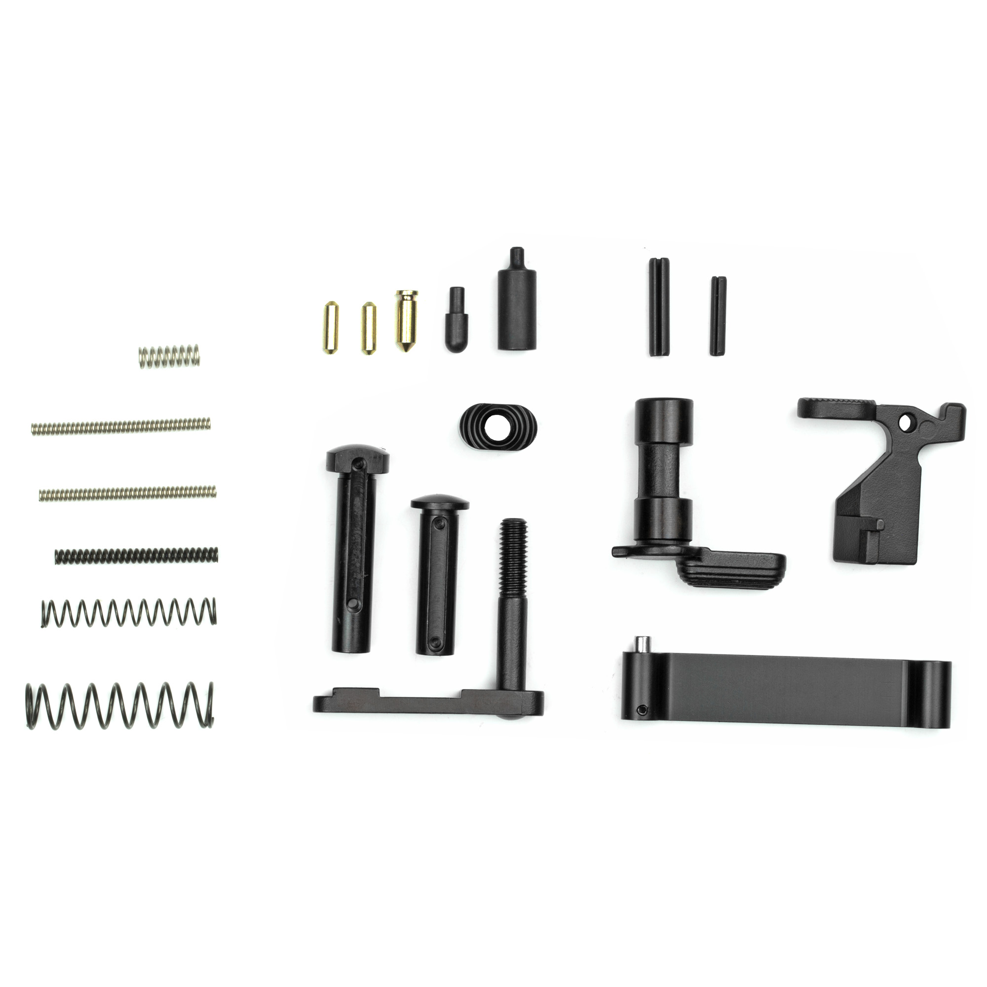 """This lower receiver parts kit for AR-15 is a great addition to your AR15 build. From amateur gun builder to seasoned expert gun smith"""" this lower parts kit is for you. NOTE: Fire control group and grip NOT included. Kit contains the following: 1.Bolt Catch 2. Bolt Catch Plunger 3. Bolt Catch Spring 4. Bolt Catch Roll Pin 5. Mag Release 6. Mag Release Button 7. Mag Release Spring 8. Buffer Retainer Spring 9. Safety 10. Buffer Retainer 11. Safety Detent Spring 12. Safety Detent 13. Trigger Guard 14. Trigger Guard Roll Pin 15. Takedown Detent Springs 16. Takedown Detents 17. Takedown Pins. All parts meet or exceed MIL SPEC"""