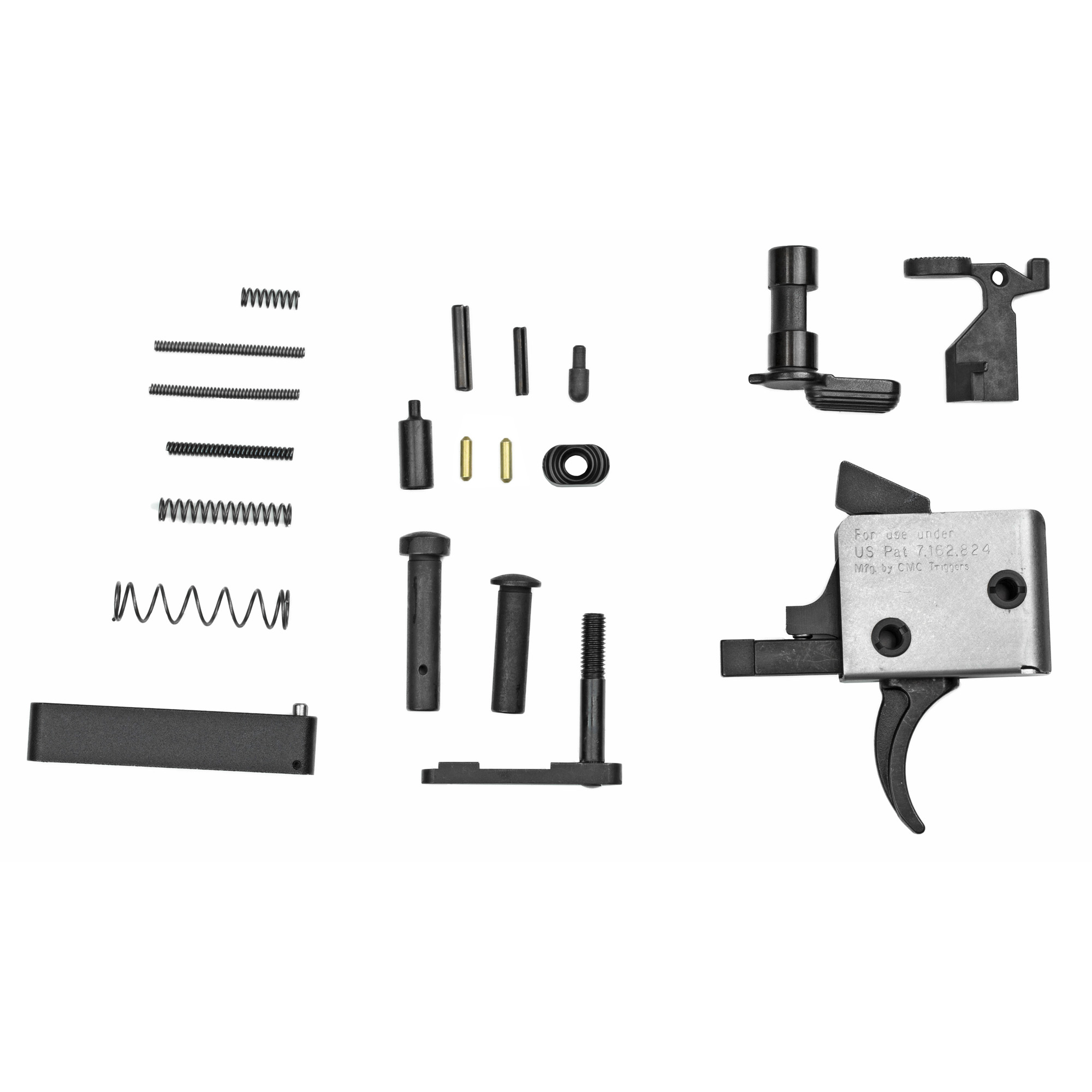 """Enhanced with a 3.5lb Single Stage Curved Trigger"""" this kit is a great addition to your AR15 build. From amateur gun builder to seasoned expert gun smith"""" this lower parts kit is for you. NOTE: Grip NOT included. Kit Contains 3.5lb Single Stage Trigger 1.Bolt Catch 2. Bolt Catch Plunger 3. Bolt Catch Spring 4. Bolt Catch Roll Pin 5. Mag Release 6. Mag Release Button 7. Mag Release Spring 8. Buffer Retainer Spring 9. Safety 10. Buffer Retainer 11. Safety Detent Spring 12. Safety Detent 13. Trigger Guard 14. Trigger Guard Roll Pin 15. Takedown Detent Springs 16. Takedown Detents 17. Takedown Pins. All parts meet or exceed MIL SPEC"""