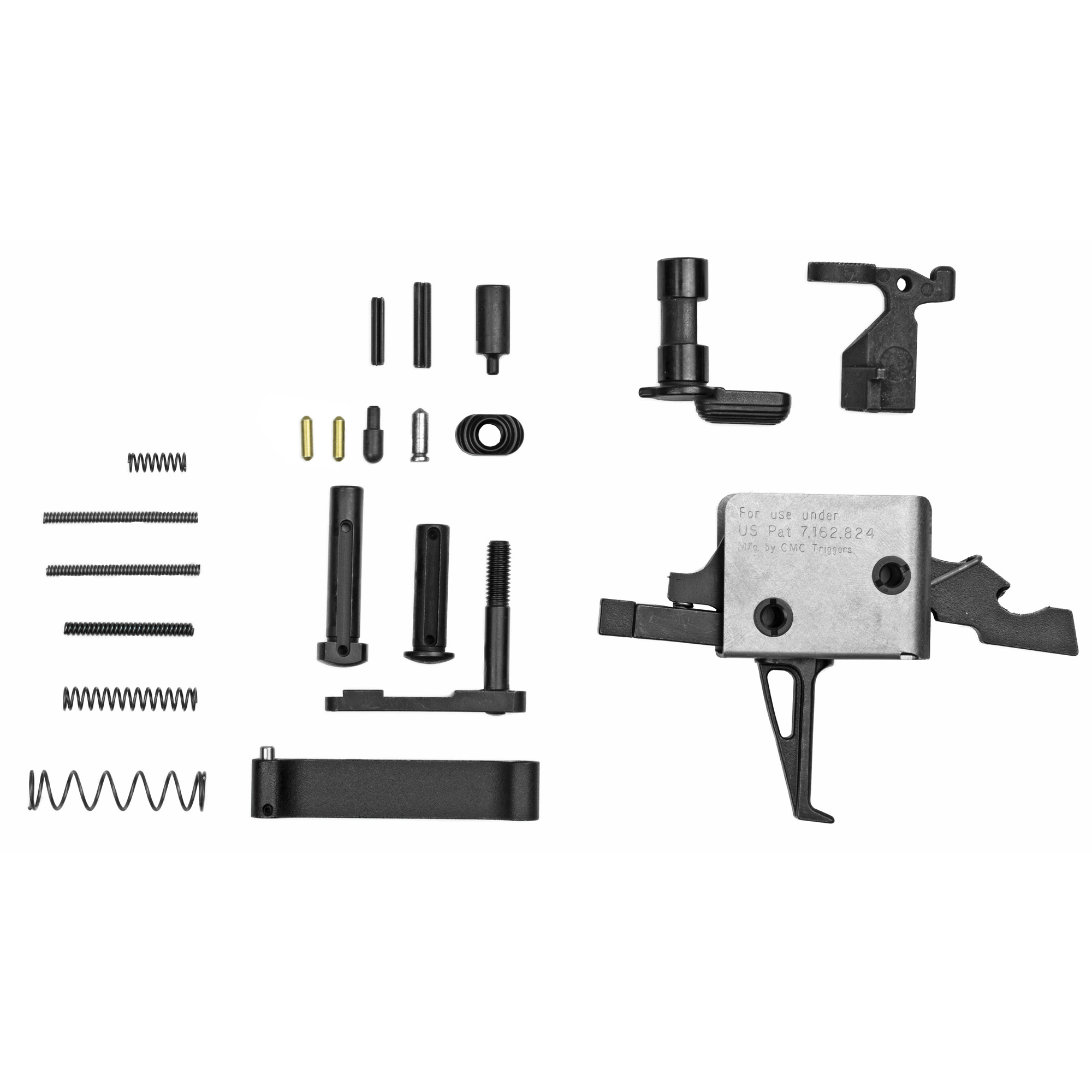 """Enhanced with a 3.5lb Single Stage Flat Trigger"""" this kit is a great addition to your AR15 build. From amateur gun builder to seasoned expert gun smith"""" this lower parts kit is for you. NOTE: Grip NOT included. Kit Contains 3.5lb Single Stage Trigger 1.Bolt Catch 2. Bolt Catch Plunger 3. Bolt Catch Spring 4. Bolt Catch Roll Pin 5. Mag Release 6. Mag Release Button 7. Mag Release Spring 8. Buffer Retainer Spring 9. Safety 10. Buffer Retainer 11. Safety Detent Spring 12. Safety Detent 13. Trigger Guard 14. Trigger Guard Roll Pin 15. Takedown Detent Springs 16. Takedown Detents 17. Takedown Pins. All parts meet or exceed MIL SPEC"""
