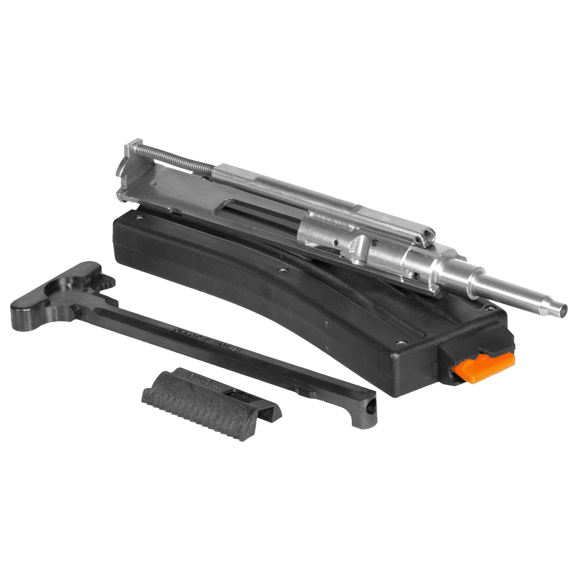 Just swap this drop in conversion with the bolt carrier group from your 5.56/.223 chambered rifle and you will be ready to shoot .22LR. Ships with 25rd 22LR magazine. For best performance use a round style hammer as notched hammers can cause function issues and 36 grain plated nose bullets have proven to be the best choice for function.