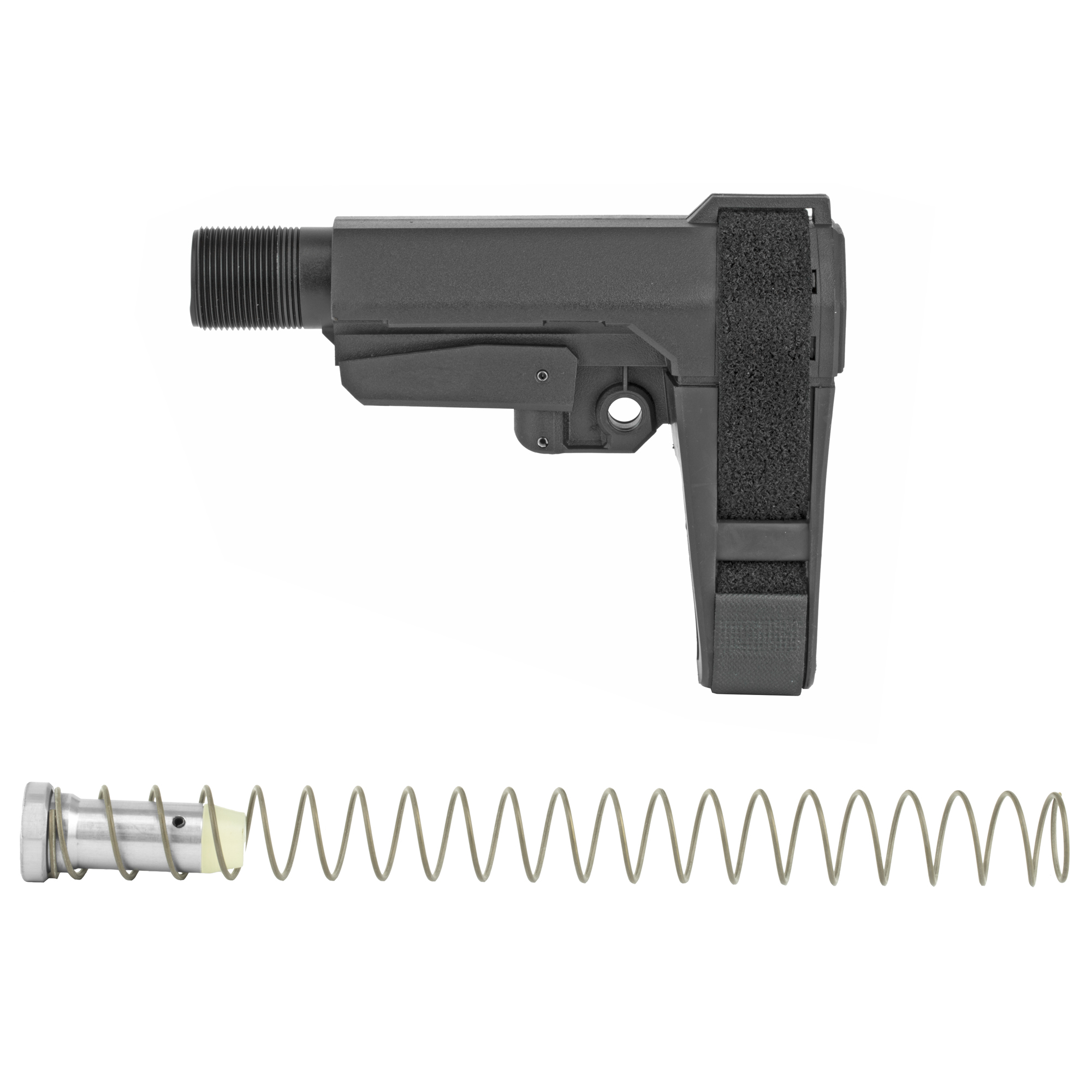 """RipBrace is a revolutionary"""" retractable pistol brace engineered for lightning-fast deployment to your personal setting. With their Fastback Technology"""" you simply pull straight back to extend the brace. No locking tabs to bind. P3 Technology (Personal Position Preset) allows you to adjust the indexing screw and to set your own preset."""
