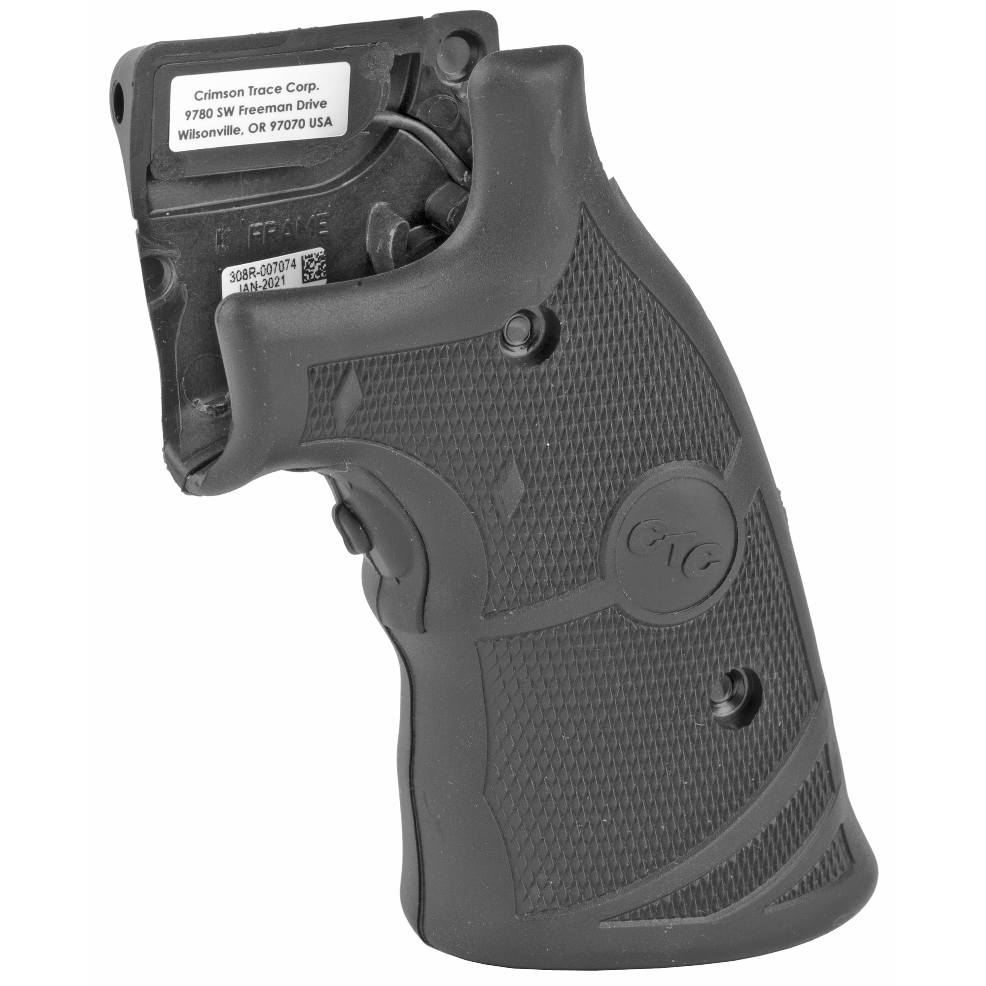 """LG-308 laser sights for Smith & Wesson K & L-Frame revolvers feature a comfortable rubber overmold grip that provides ideal comfort and security for large caliber revolvers. The laser activation switch is located in the front of the revolver' Lasergrips(R)"""" making activation """"instinctive"""" when you assume a normal firing grip on the revolver."""