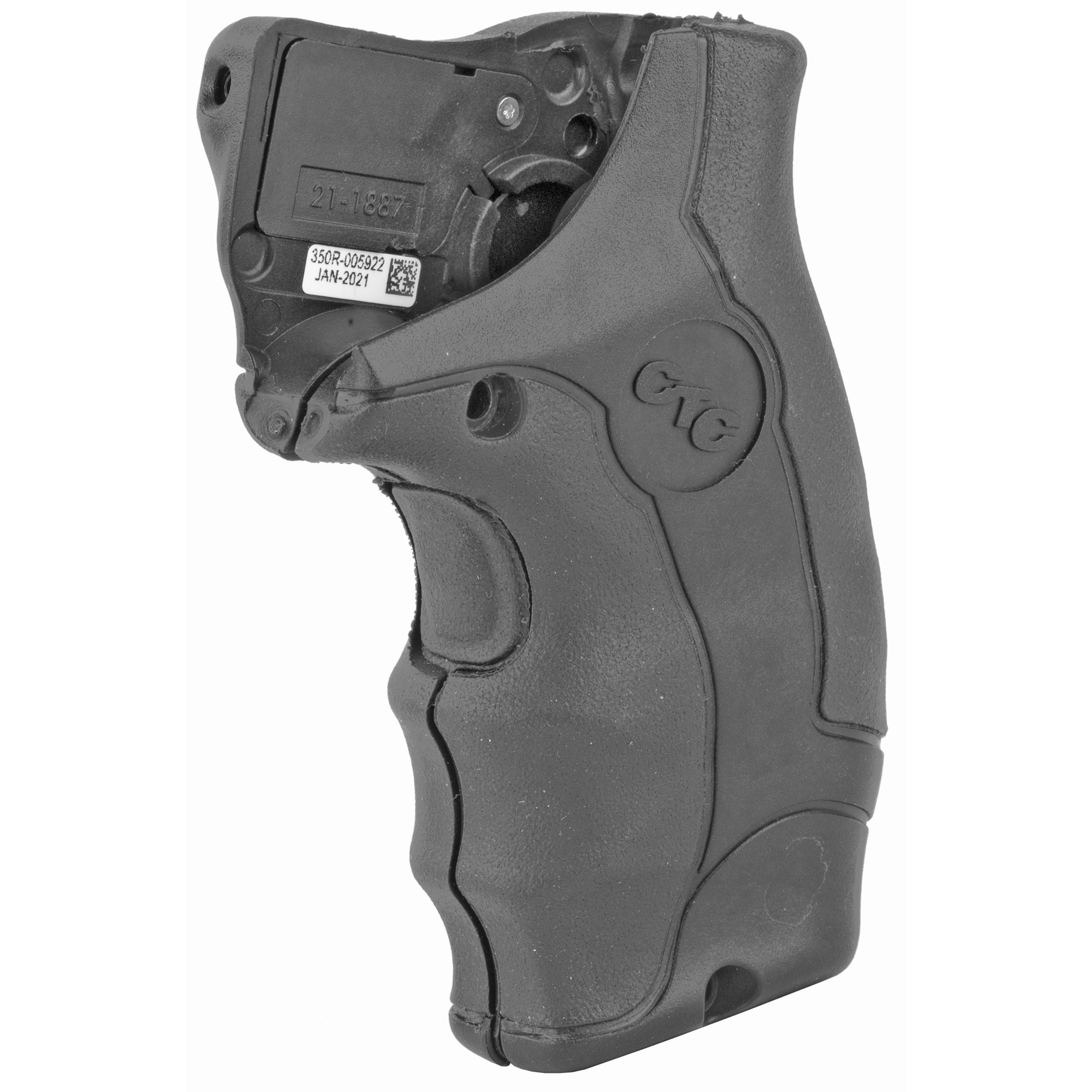 """LG-350 Lasergrips(R) are an enhanced laser sighting option for Smith & Wesson J-Frame (Round Butt) Revolvers offering excellent comfort for shooters. This model features a front laser activation button"""" and boasts over 4 hours of battery life from (2) 2032 Lithium batteries. User-installed in moments by replacing factory grips"""" the unit is completely user-adjustable for windage and elevation. LG-350 Lasergrips feature the Crimson Trace ShockStop(TM) system"""" which couples soft"""" anti-vibration material and a cushioned grip to reduce recoil while increasing shooter comfort and accuracy."""