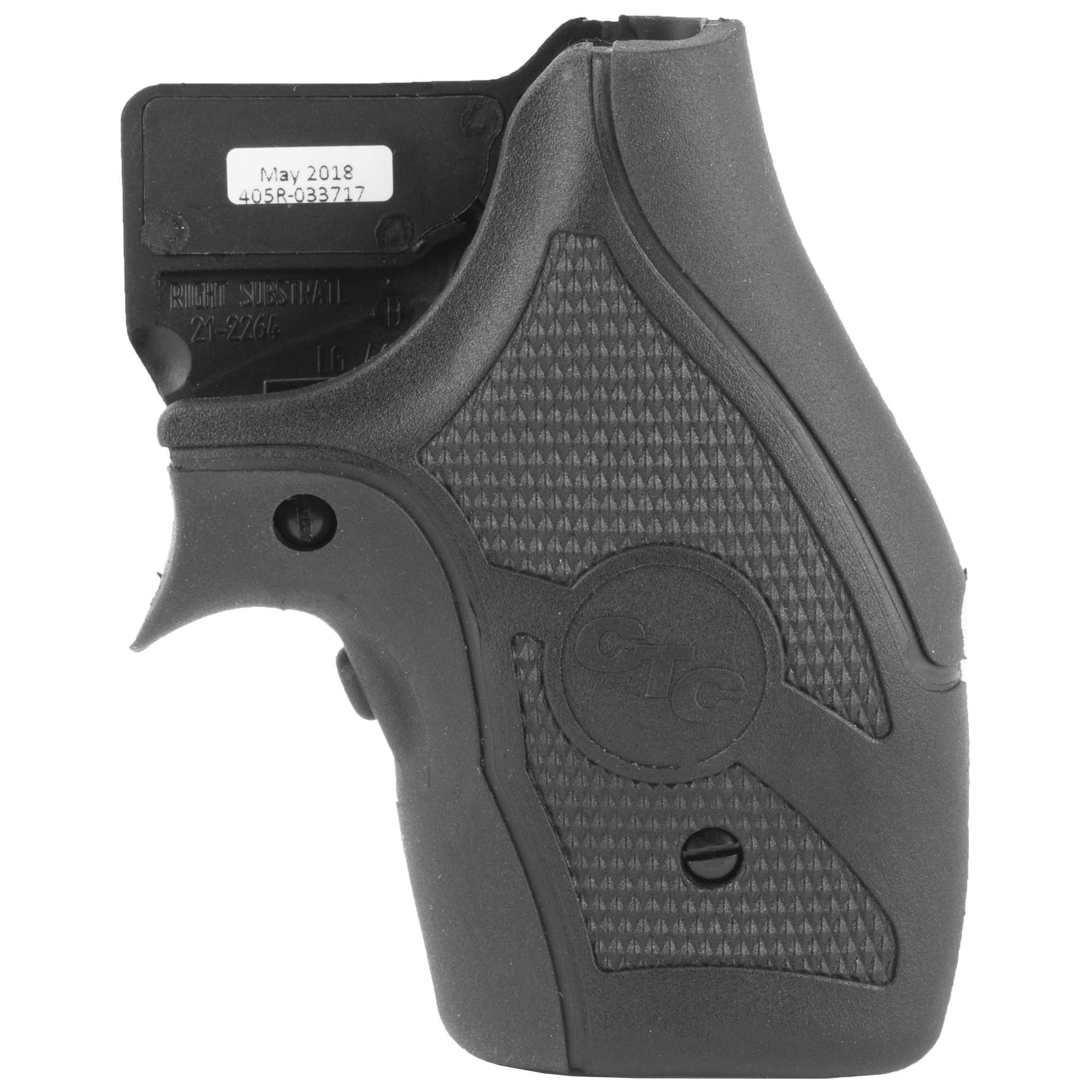 """The LG-405 laser sight is the latest design in Lasergrips(R) for the wildly popular Smith & Wesson J-Frame revolver line. Featuring a front activated laser that is engaged instinctively when the revolver is held in a natural shooting grip"""" the LG-405 laser sight is manufactured with a rubber overmold material over a polymer base. In addition to the enhanced sighting provided by Crimson Trace(R) Lasergrips"""" the LG-405 also features an innovative air pocket on top of the backstrap that effectively reduces felt recoil up to 30%. The LG-405 on a J-Frame is ideal for deep concealment."""