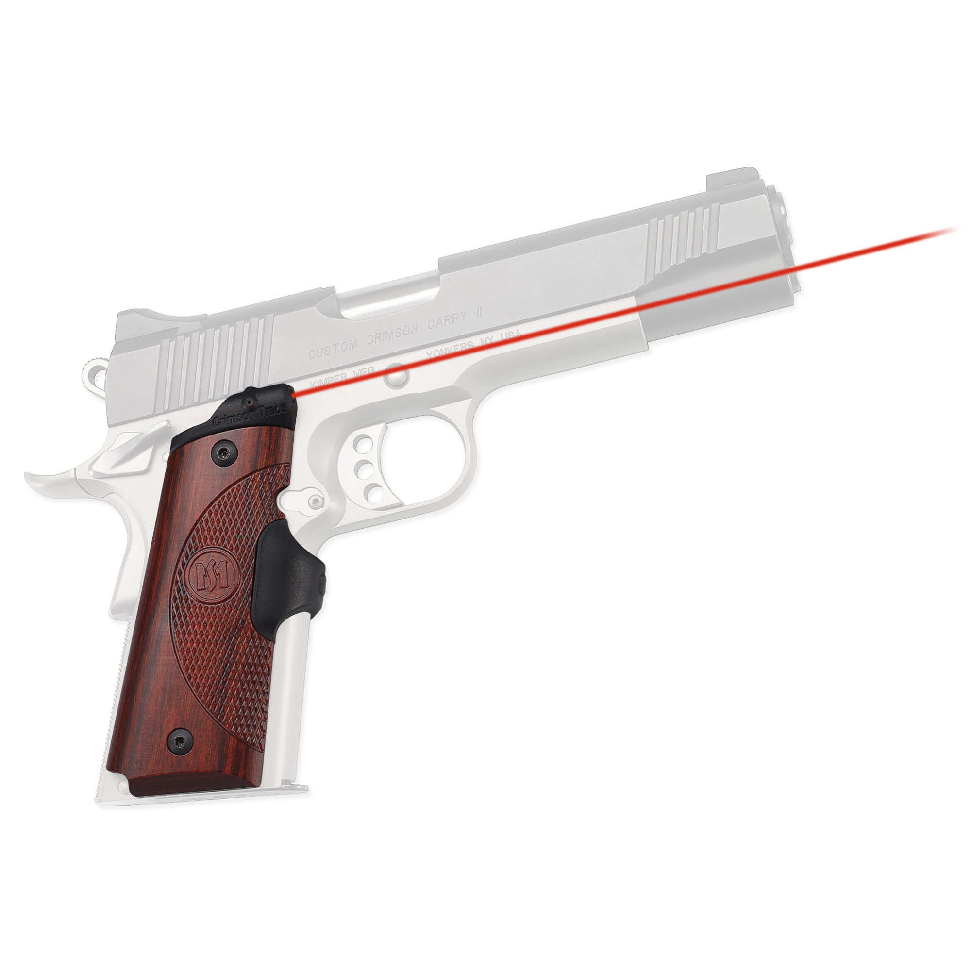 """Machined to fit seamlessly while bringing both artistry and rugged engineering to John Browning's classic 1911 design"""" Master Series(TM) Lasergrips(R) are sure to impress. Featuring ergonomic and beautiful Rosewood side panels with a rubber overmolded activation button; these are the ultimate laser sights. Standard to Crimson Trace Lasergrips"""" the LG-901 features Instinctive Activation(TM). This means that the laser sight automatically springs to life when the weapon is held in a natural firing grip."""