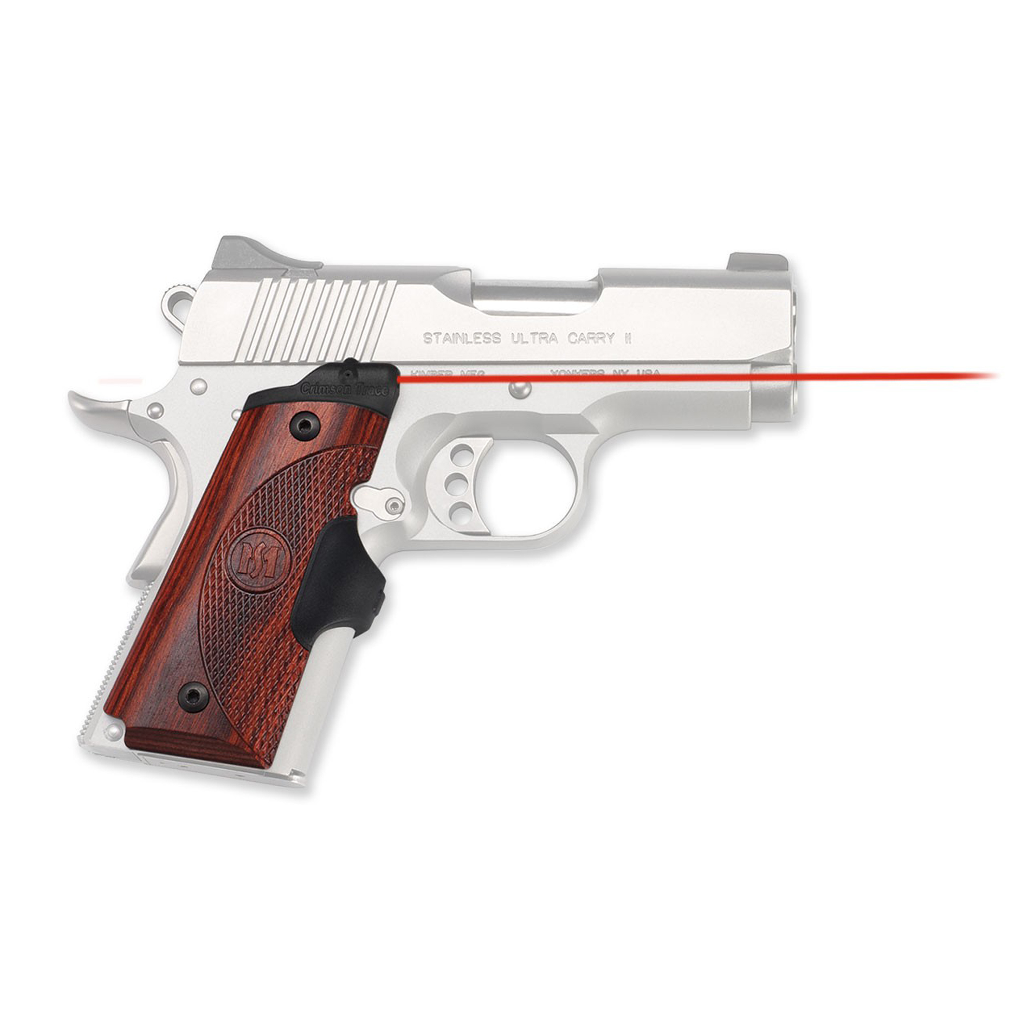 """Machined to fit seamlessly while bringing both artistry and rugged engineering to John Browning's classic 1911 design"""" Master Series(TM) Lasergrips(R) are sure to impress. Featuring ergonomic and beautiful Rosewood side panels with a rubber overmolded activation button; these are the ultimate laser sights. Standard to Crimson Trace Lasergrips"""" the LG-902 features Instinctive Activation(TM). This means that the laser sight automatically springs to life when the weapon is held in a natural firing grip."""