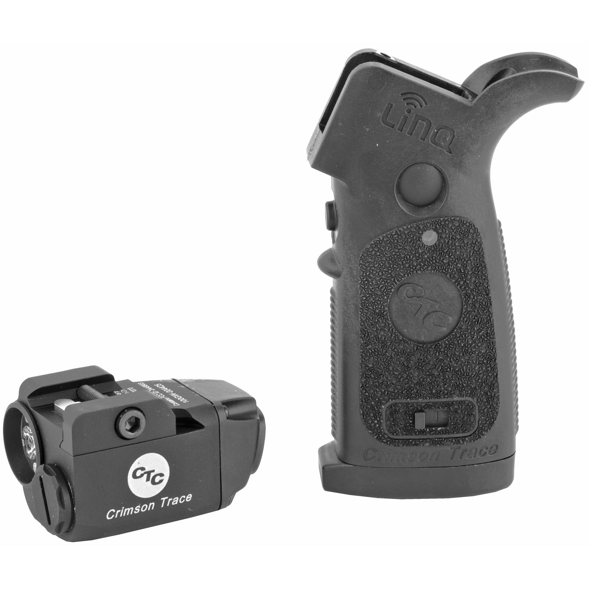 """LiNQ combines a Green Laser Sight and 300 Lumen LED White Light with Instinctive Activation(TM) for AR-Type Modern Sporting Rifles (AR-15"""" AR-10"""" M4"""" M16"""" HK416). Utilizing a secure"""" individual wireless connection"""" LiNQ offers complete wireless control of the laser and light module. The replacement grip is ergonomically designed for quick activation and mode changes"""" eliminating the need to reach for the rifle's forend to operate. The green laser sight"""" coupled with a powerful tactical light"""" offers high visibility in all lighting conditions"""" making LiNQ the ultimate illumination and targeting solution."""