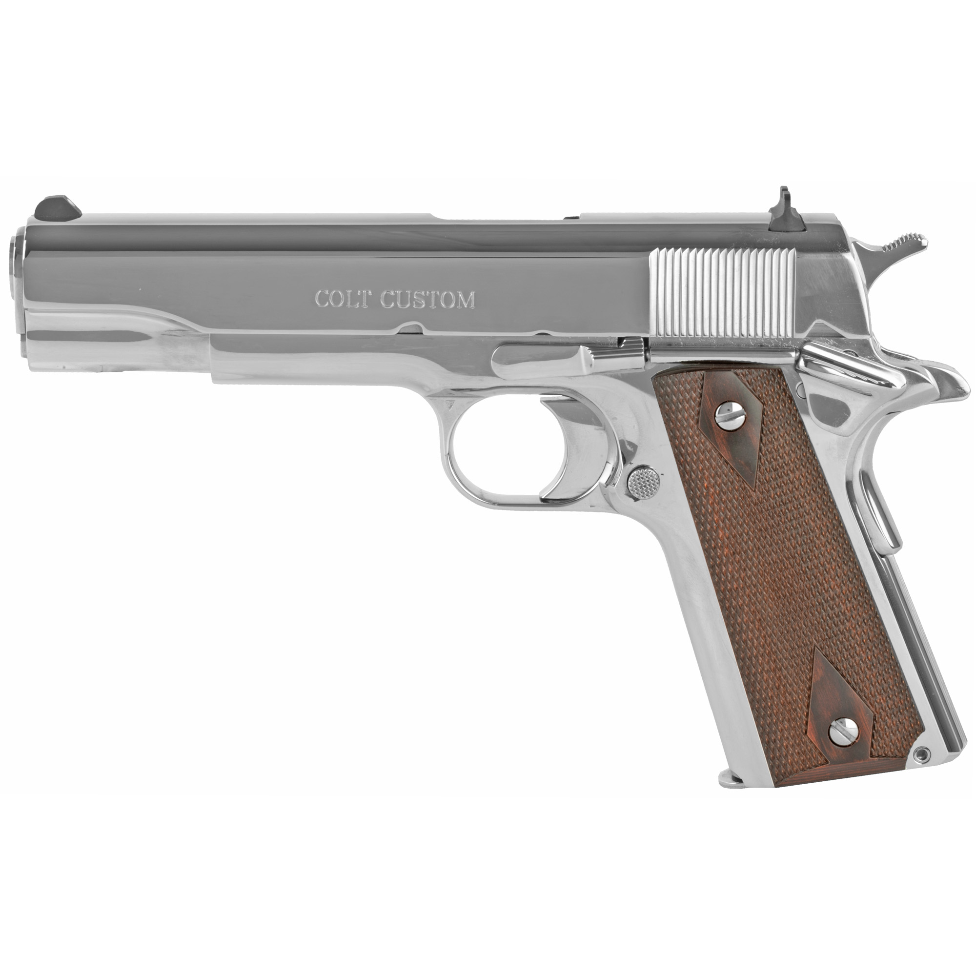 "The Colt M1911 pistol has been a favorite for 100 years as a service pistol"" law enforcement pistol"" and personal defense firearm. This pistol features a bright stainless finish"" white dot sights and steel frame."