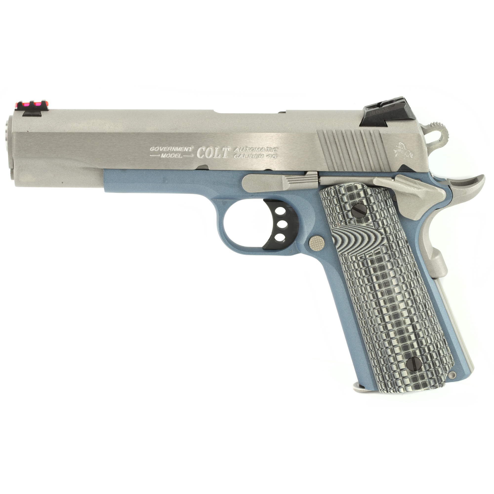 "A true competition 1911 that's ready for the battle against the timer. Now available in corrosion resistant Stainless Steel with a Special Edition Blue Titanium finish. Custom G10 Grips"" Upswept Beavertail Grip Safety"" and Undercut Trigger Guard keep the pistol low in the hand for increased control. The Dual Recoil spring system reduces felt recoil while extending recoil spring life. A National Match(R) Barrel and Novak Adjustable Fiber Optic Sights help with precision shooting. The Series 70 Firing System ensures a clean crisp trigger pull."