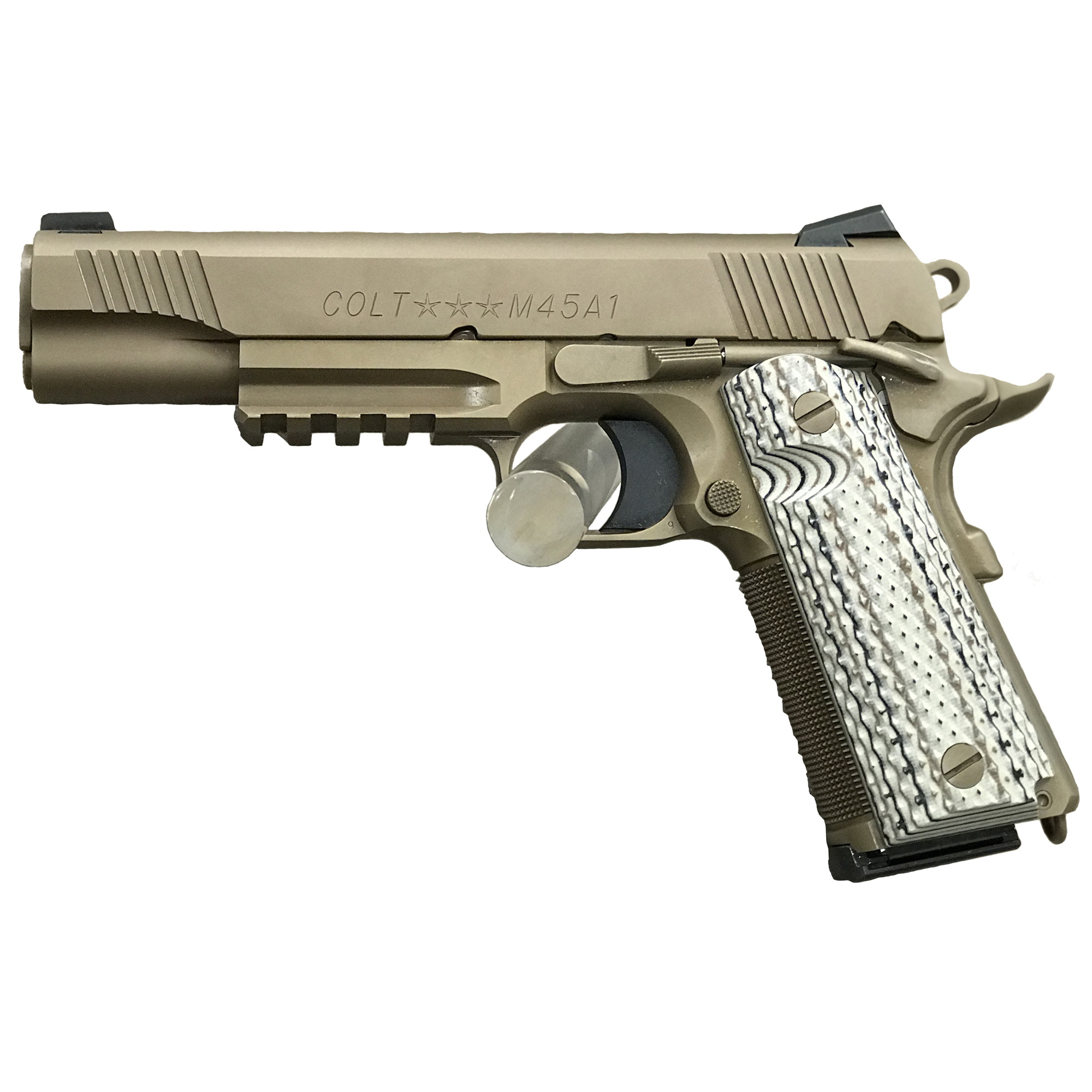 """The Colt M1911 pistol has been a favorite for 100 years as a service pistol"""" law enforcement pistol"""" and personal defense firearm. This pistol features a 5"""" National Match barrel"""" dark earth finish"""" steel frame and Novak Night sights."""