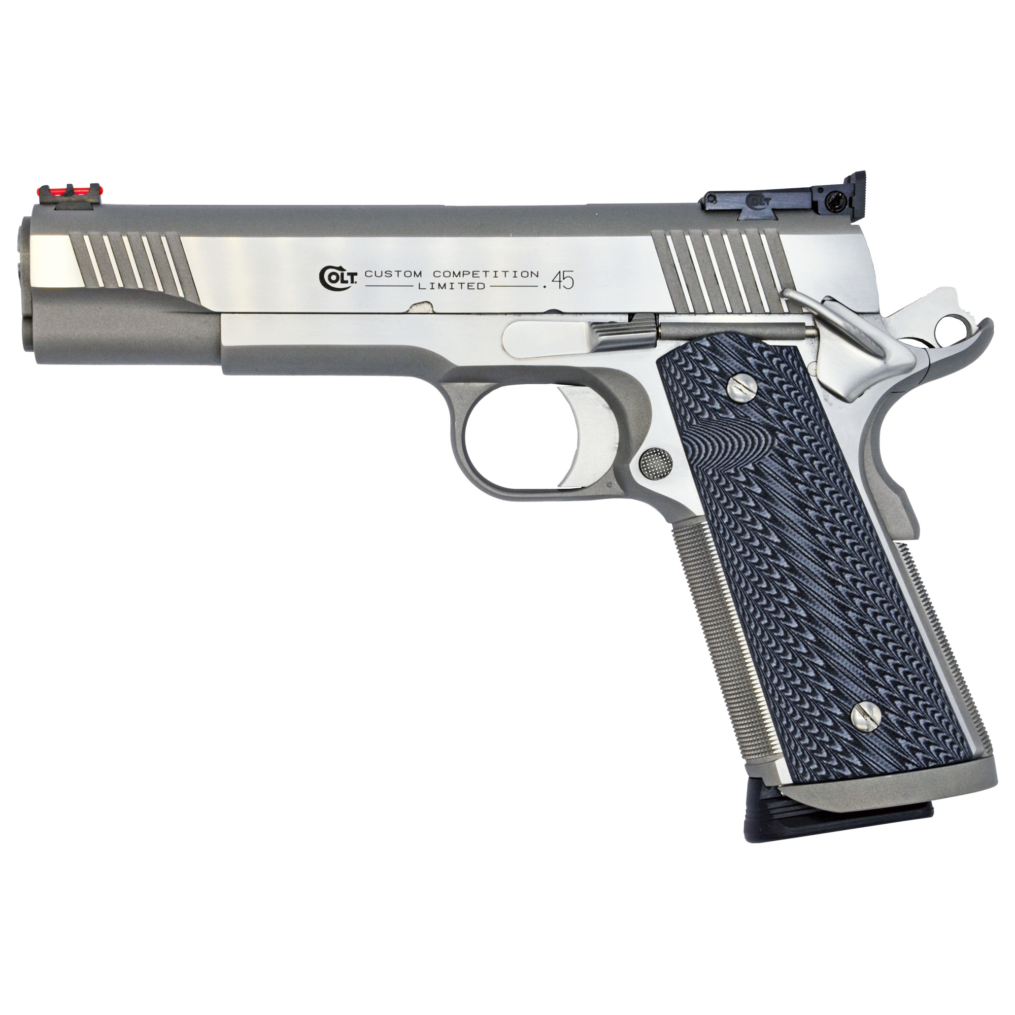 "The Custom Competition is a hand fit Series 70 Competition Pistol assembled by the Master Gunsmiths in the Colt Custom Shop. Features include a fully blended Magwell"" and 25lpi Front Strap checkering. The National Match(R) Barrel and Fully Adjustable Bomar Style Rear Sight ensures the utmost accuracy."