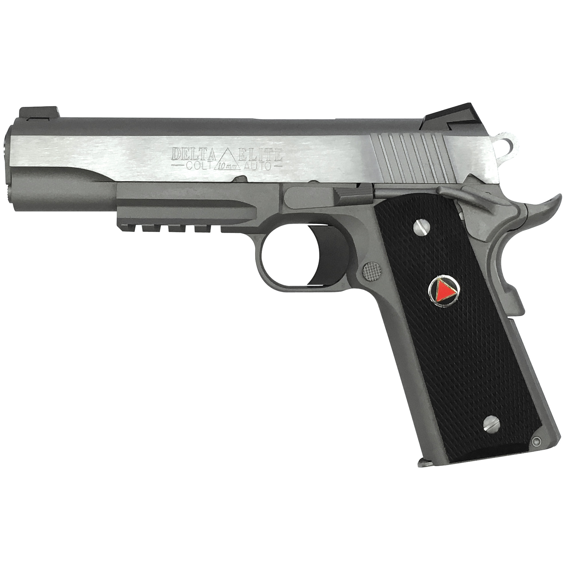 Colt's venerable Delta Elite(R) 10mm 1911 is now available as a Rail Gun(R). Colt kept interest in the powerful 10mm round alive with the release of the Delta Elite(R) back in the 1980's. Now hunters and advanced security operatives have the opportunity to take advantage of their favorite rail mounted pistol light without giving up what makes a Colt 1911 special.