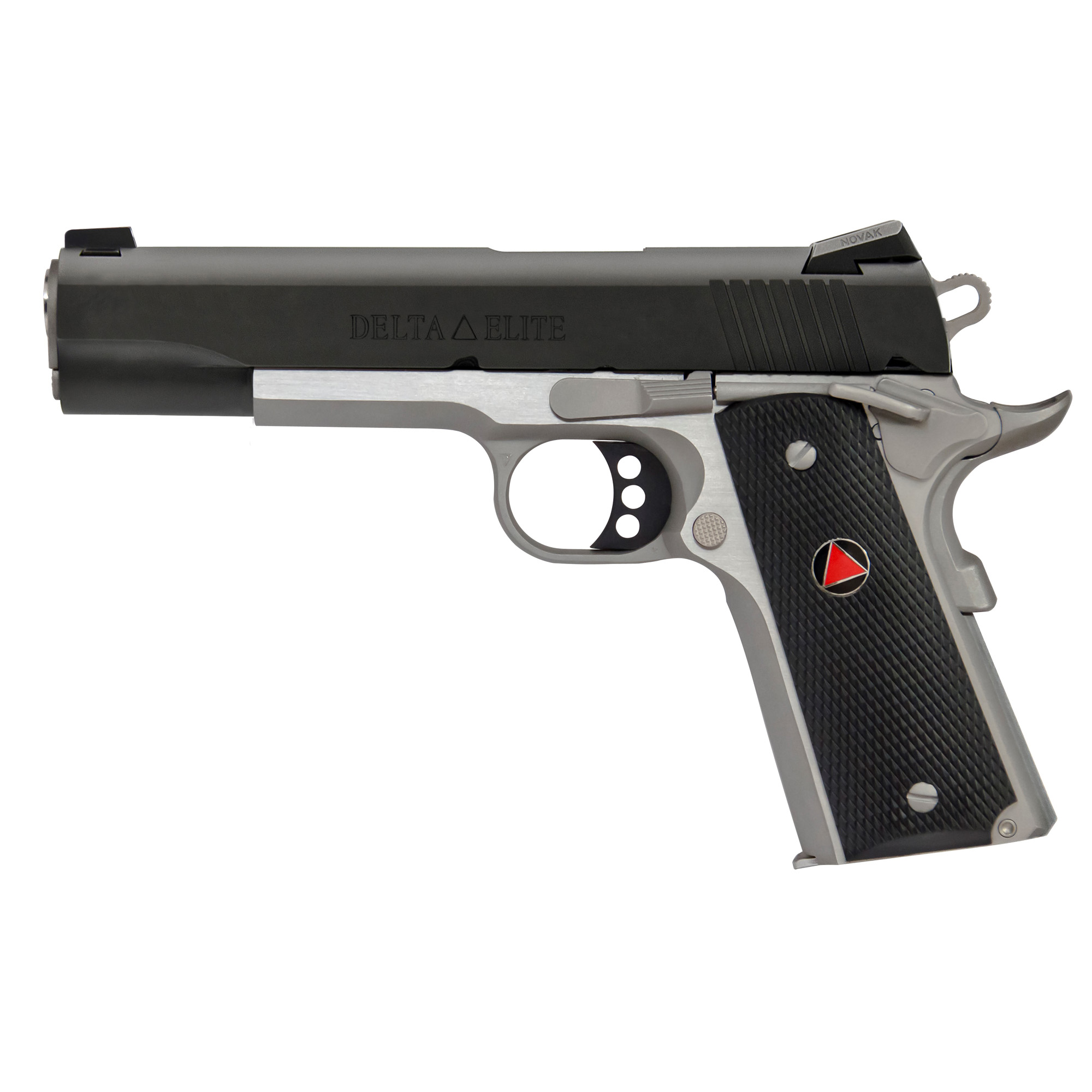 "The time-tested Colt Government Model(R) is available in 10MM. It features an Upswept Beavertail Grip Safety"" Extended Thumb Safety"" and Genuine Novak White Dot Sights. The 10MM offers the power to hunt medium sized game with near .41 Magnum ballistics in a legendary 1911 style pistol. Composite Grips with Delta Medallions make this powerful pistol comfortable to shoot. Available for a limited time in this Special Edition Two Tone finish."