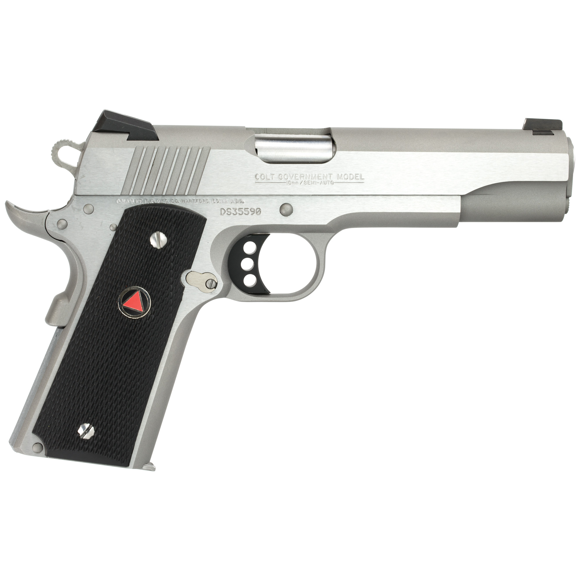 """The time-tested Colt Government Model(R) is available in 10MM. It features an Upswept Beavertail Grip Safety"""" Extended Thumb Safety"""" and Genuine Novak White Dot Sights. The 10MM offers the power to hunt medium sized game with near .41 Magnum ballistics in a legendary 1911 style pistol. Composite Grips with Delta Medallions make this powerful pistol comfortable to shoot."""