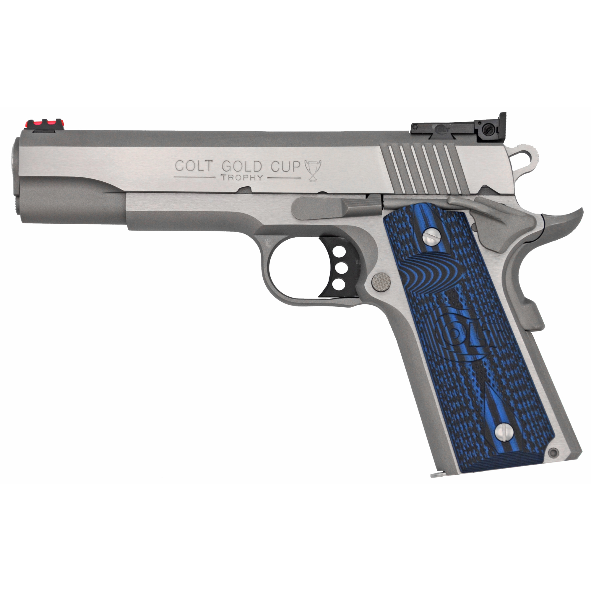 "The Colt M1911 pistol has been a favorite for 100 years as a service pistol"" law enforcement pistol"" and personal defense firearm. This pistol features G10 grips"" an upswept beavertail grip safety and adjustable sights with fiber optic front."