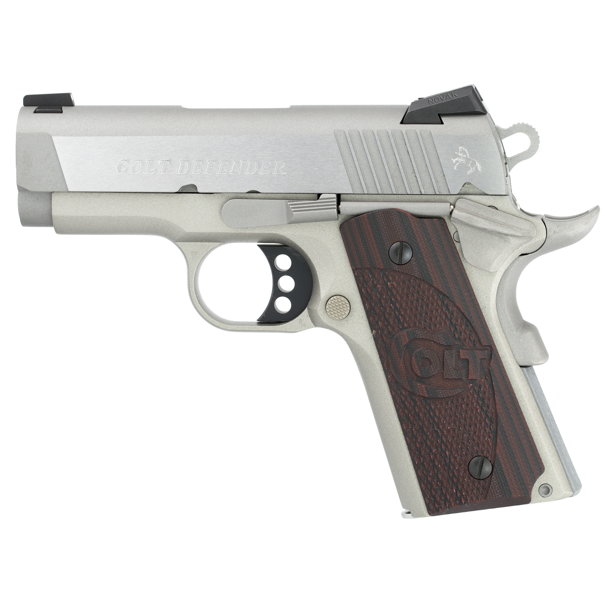 "The Colt Defender(TM) pistol is a carry-ready 1911 in a compact size. The Lightweight Aluminum Frame is finished in a Matte Stainless Steel finish"" topped with a Forged Stainless Steel slide for a pistol that looks as good as it conceals. Tactile G10 Grips and Upswept Beavertail Grip Safety make this small pistol very comfortable to shoot."