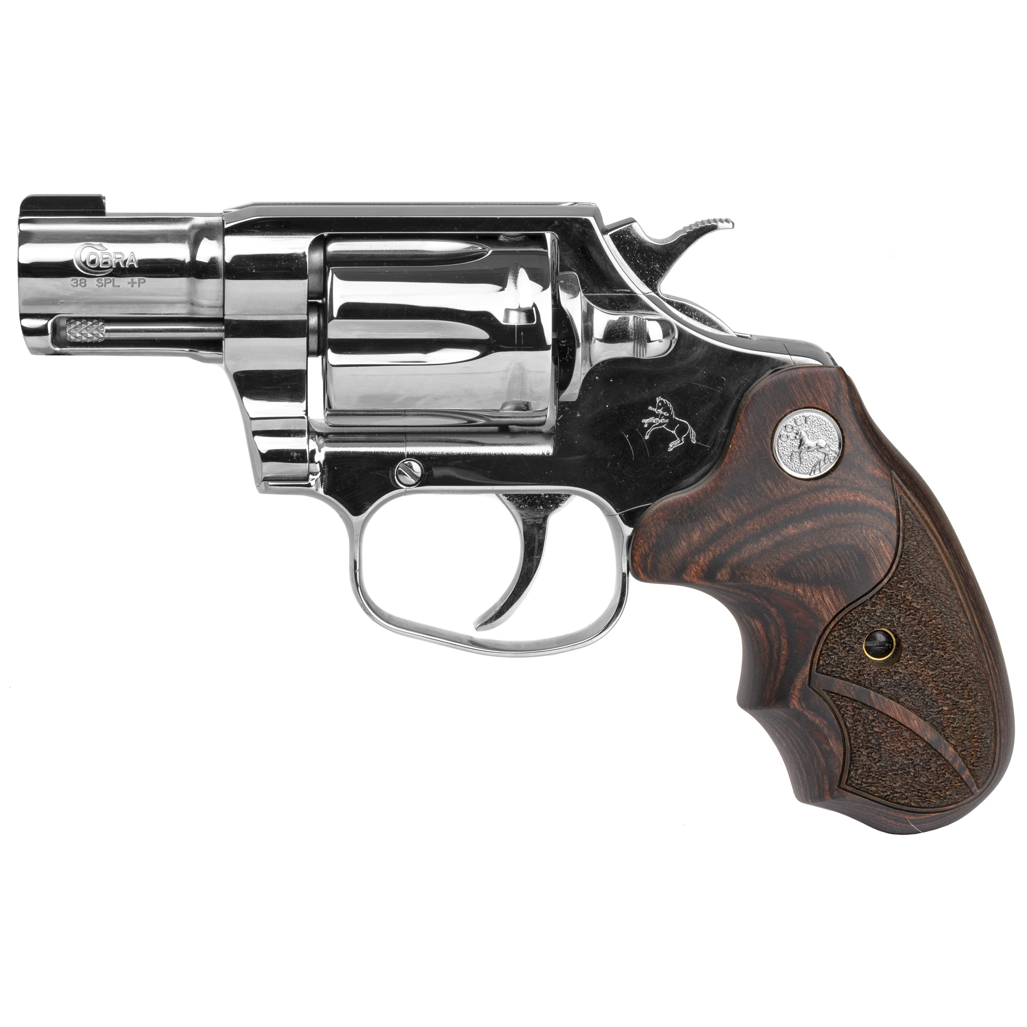 "The Colt Cobra(R) marks Colt's triumphant return to the world of double-action revolvers. This special model takes back Colt's heritage of delivering a mirror polished Stainless Steel revolver. A shooter as well as a showpiece"" the Bright Cobra is chambered in .38 Special and is +P capable. The Walnut Medallion grips and Brass Bead front sight help make it easy and enjoyable to shoot."