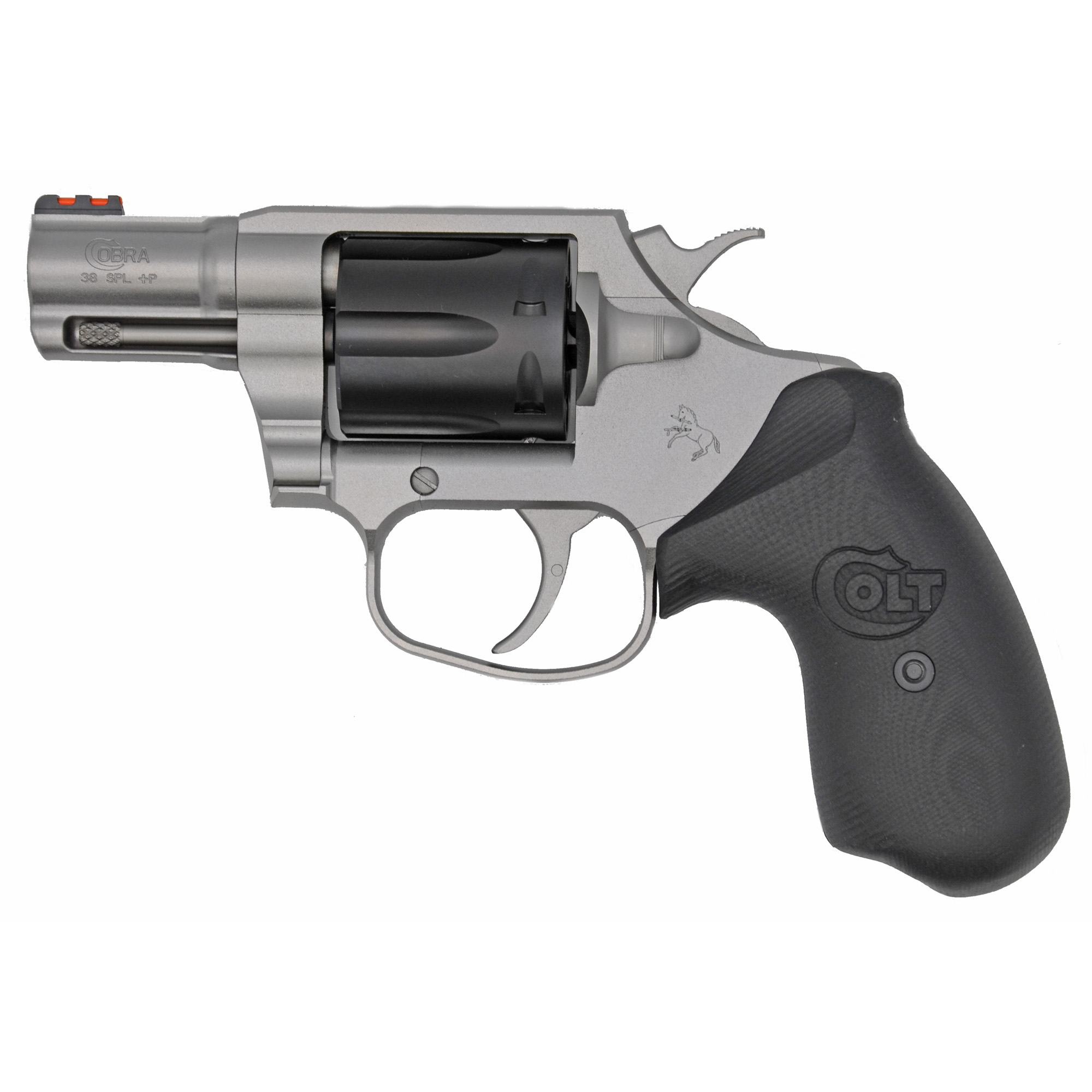 "The Colt Cobra(R) marks Colt's triumphant return to the world of double-action revolvers. Its small frame and 2"" barrel make it ideal for concealed carry. The Cobra(R) is chambered in .38 Special and is +P capable."