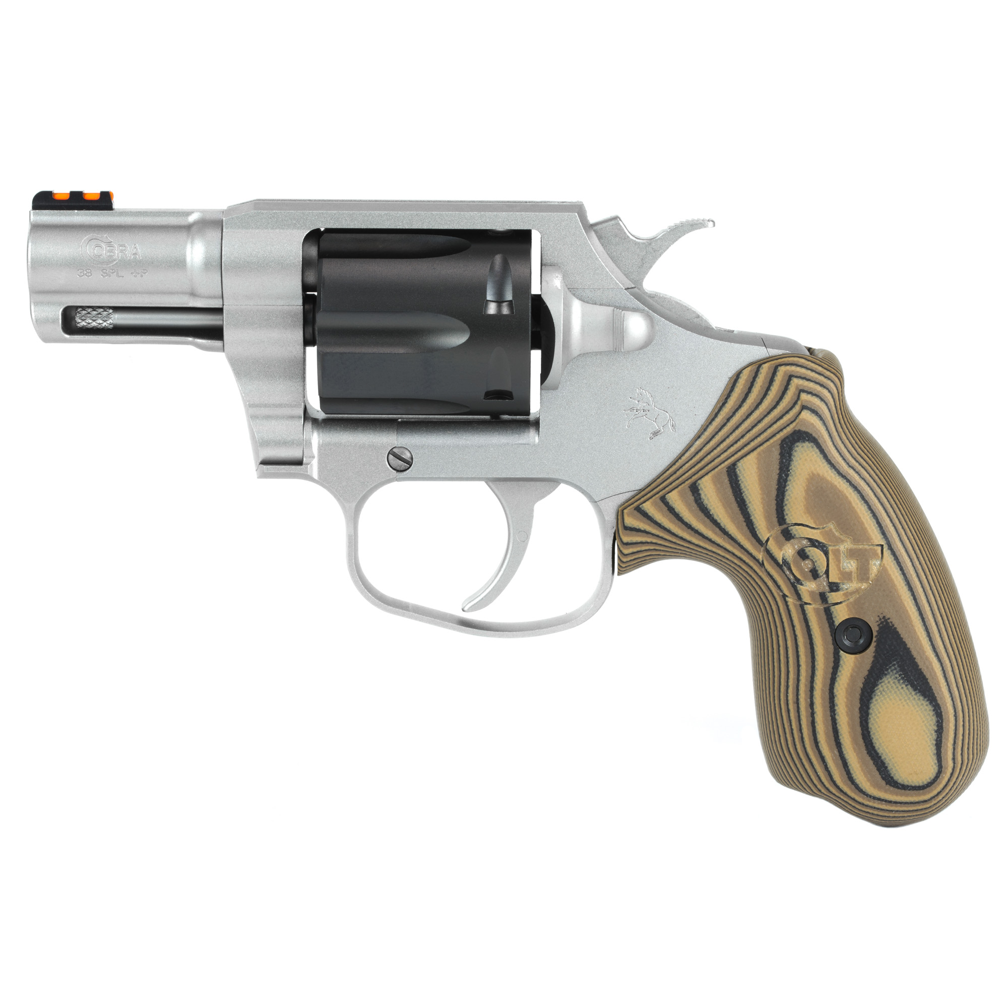 """The Colt Cobra(R) marks Colt's triumphant return to the world of double-action revolvers. Its small frame and 2"""" barrel make it ideal for concealed carry. The Cobra(R) is chambered in .38 Special and is +P capable. This special Two Tone version features a Black DLC cylinder and Hyena Brown G10 grips. It's easy and enjoyable to shoot"""" easy to carry"""" and draws from the fine lineage that make Colt revolvers special."""