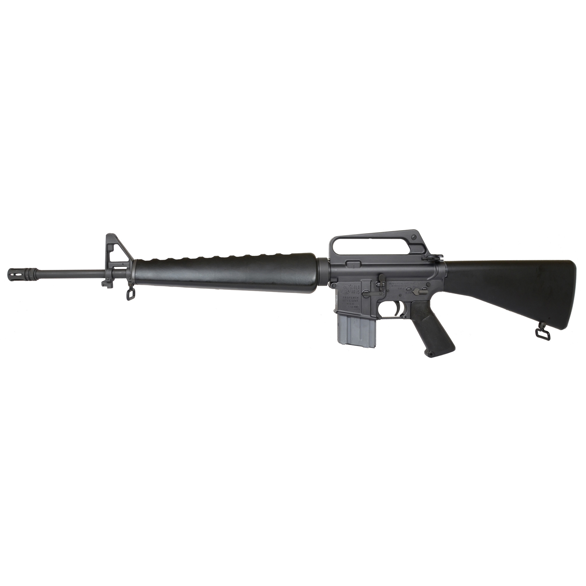 "The Colt M16A1 Retro Reissue features a 20"" barrel"" 20 round magazine"" fixed stock"" matte black finish and fixed carry handle."